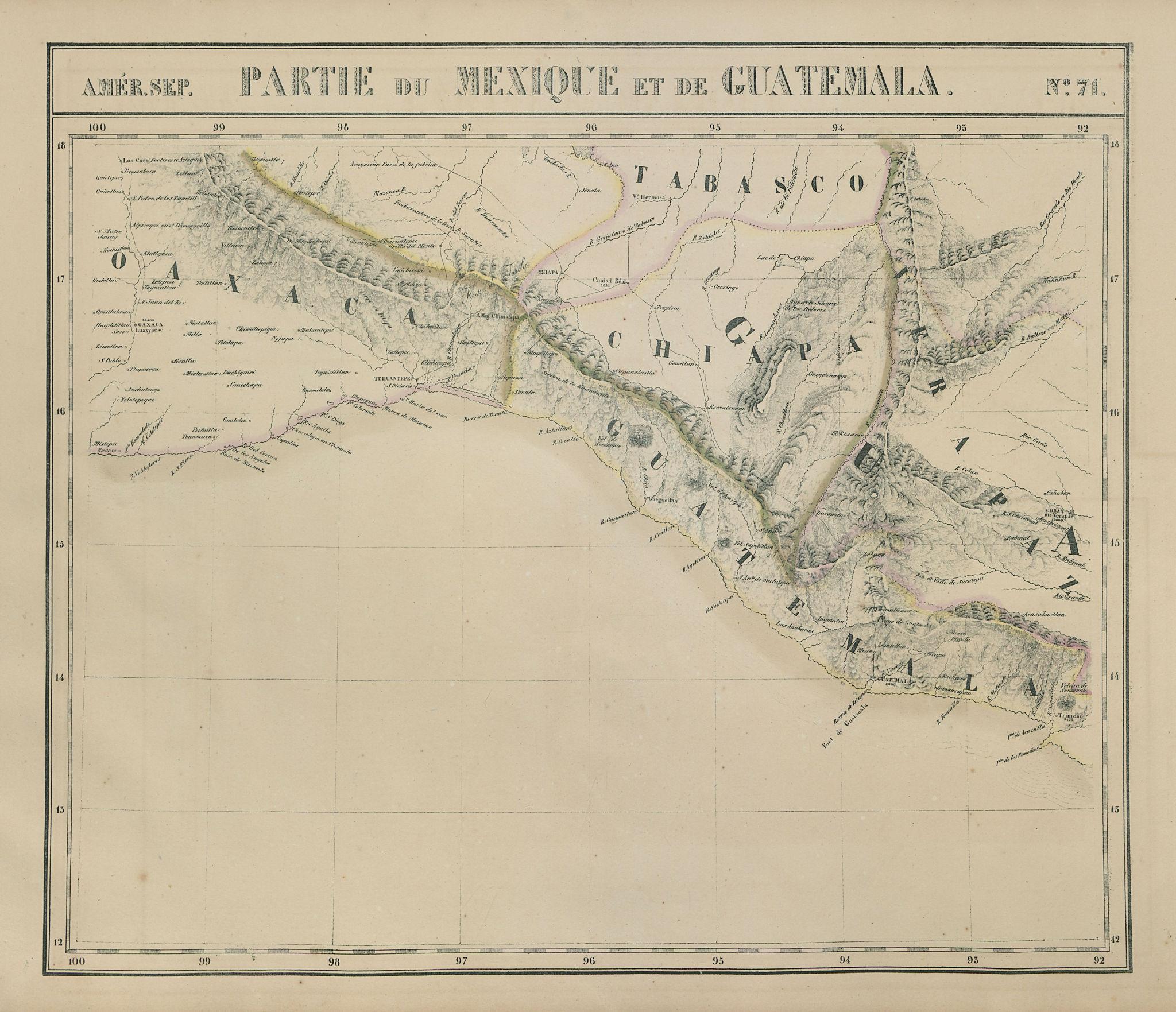 Amér Sep. Partie du Mexique & Guatemala #71 Oaxaca Chiapas VANDERMAELEN 1827 map