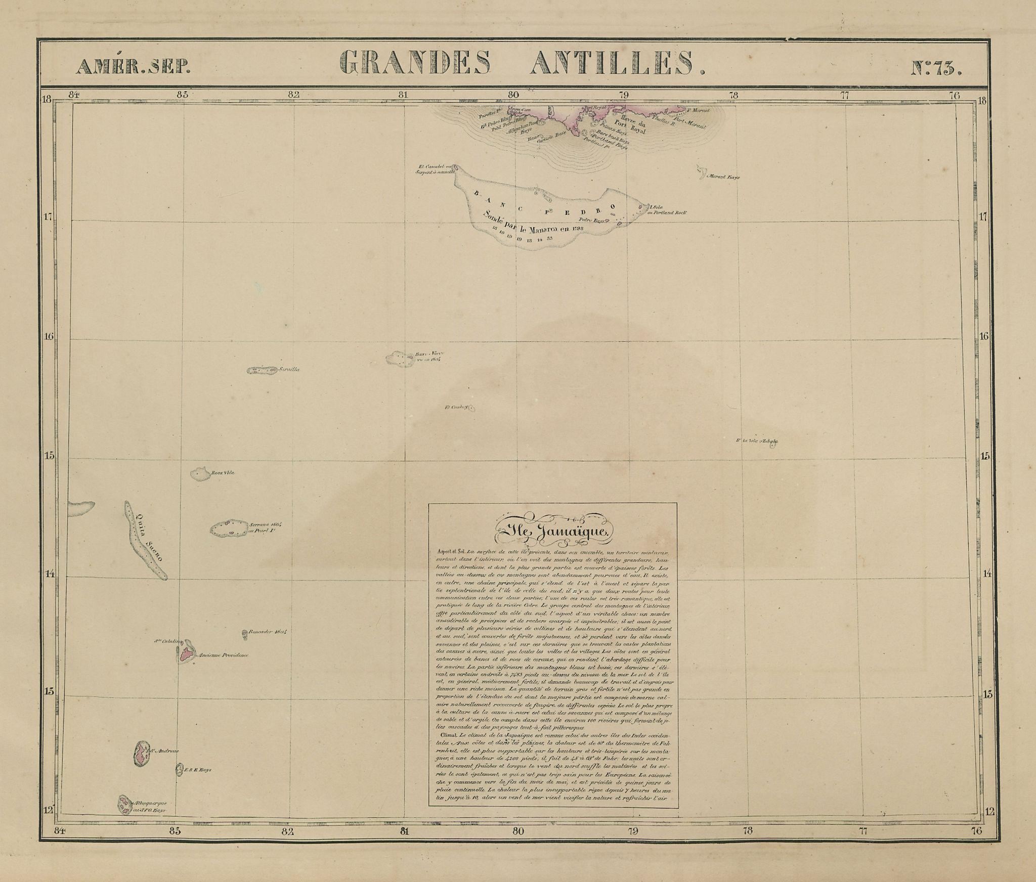 Amér Sep Grandes Antilles 73 Jamaica Pedro Bank San Andrés VANDERMAELEN 1827 map