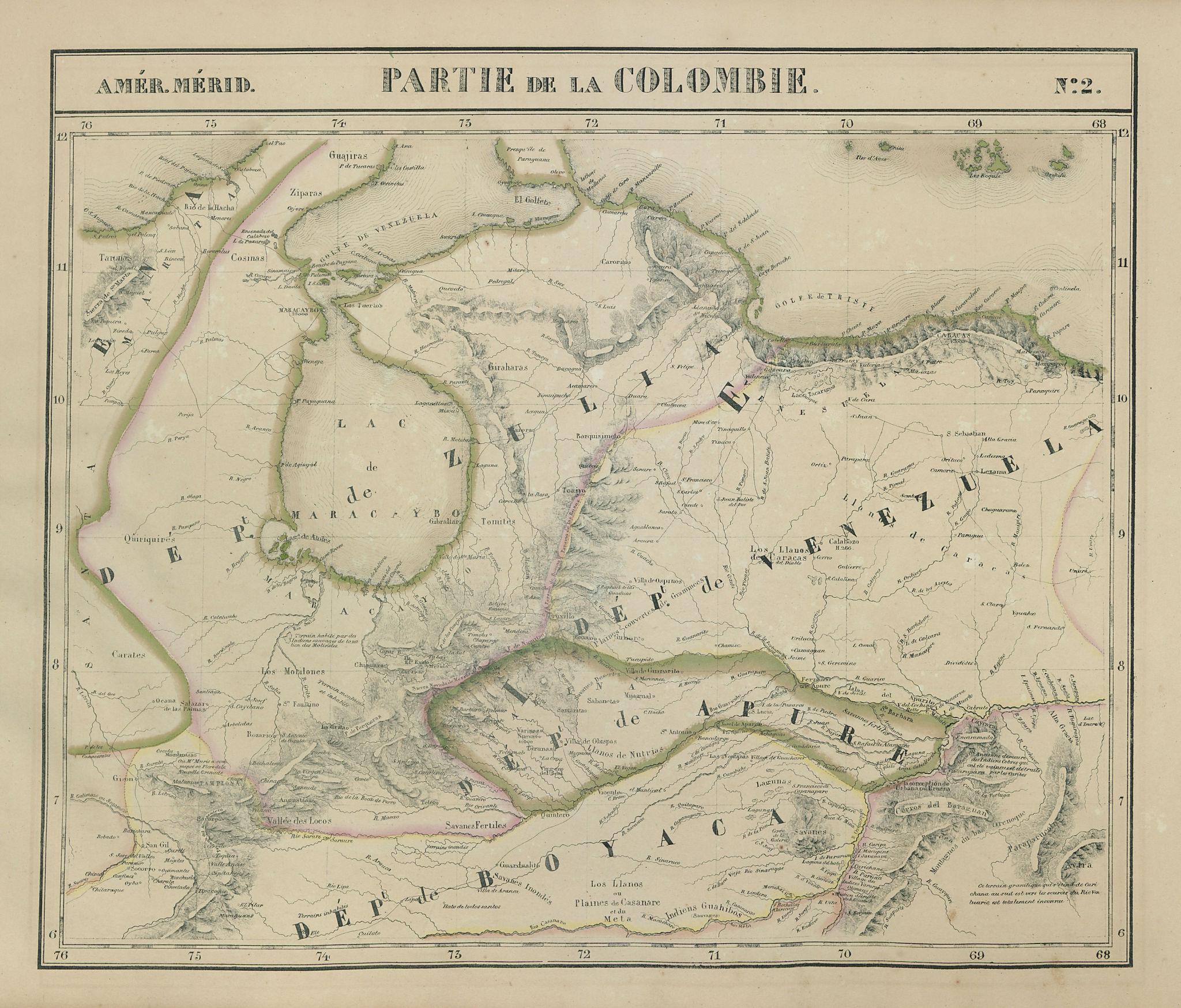 Amér. Mér. Colombie #2. Western Venezuela & NE Colombia. VANDERMAELEN 1827 map