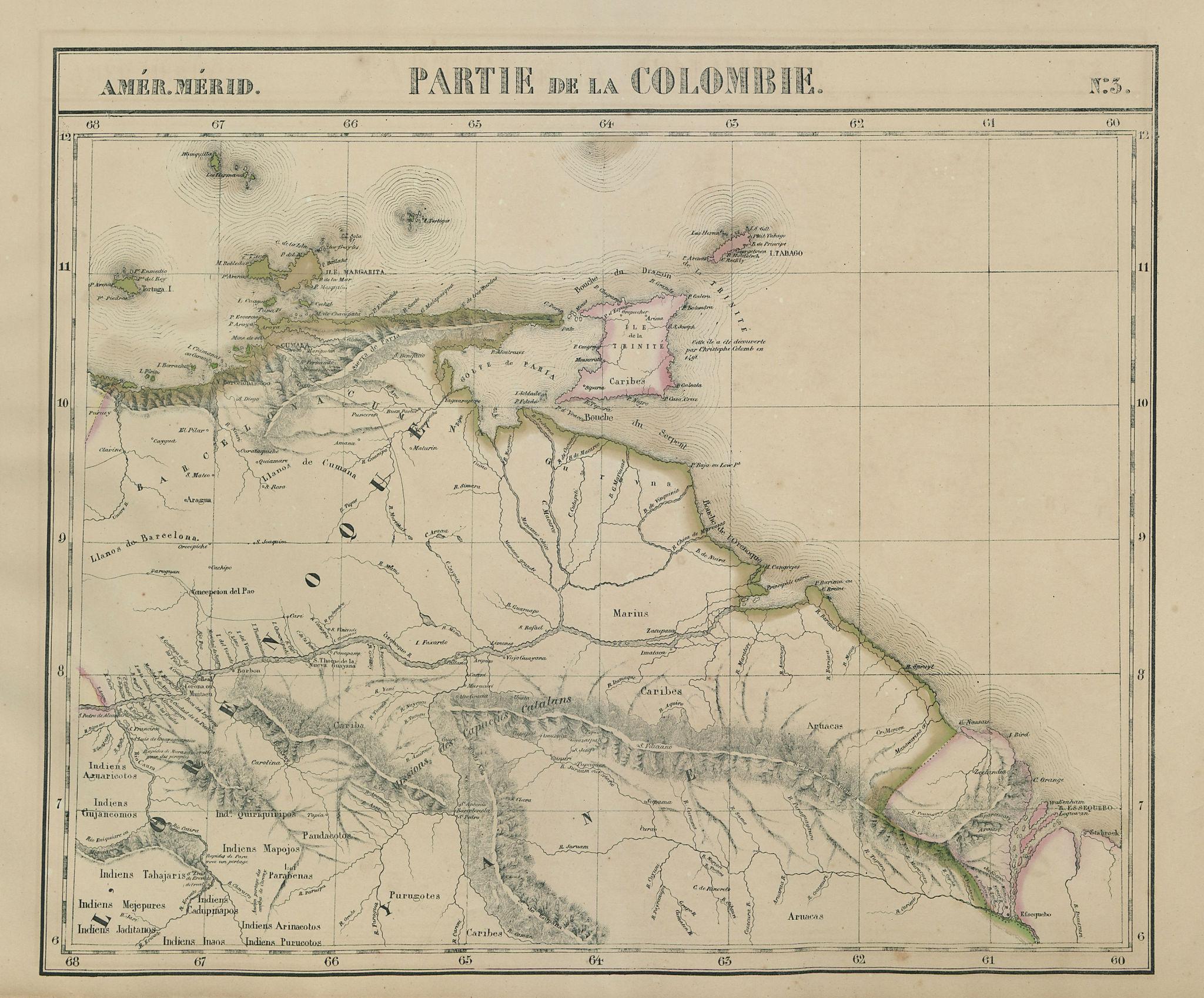 Amér. Mér. Colombie #3. Venezuela Guyana Trinidad & Tobago VANDERMAELEN 1827 map