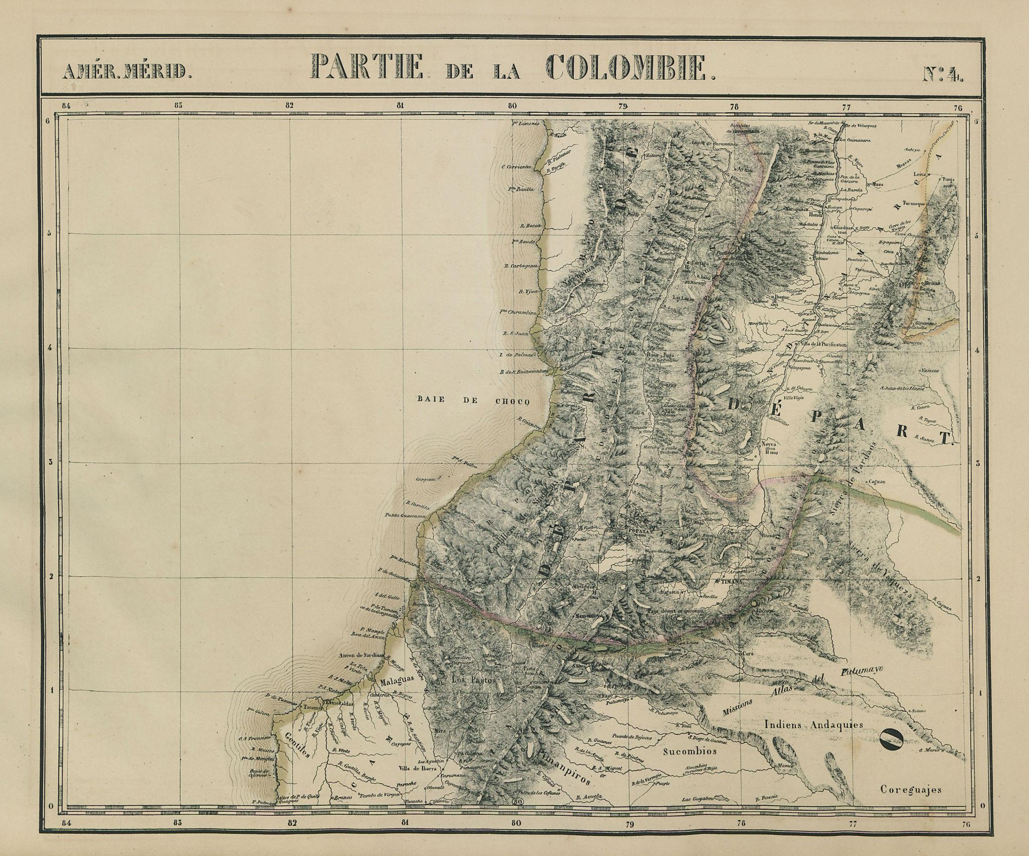 Amér. Mér. Colombie #4. SW Colombia & northern Ecuador. VANDERMAELEN 1827 map