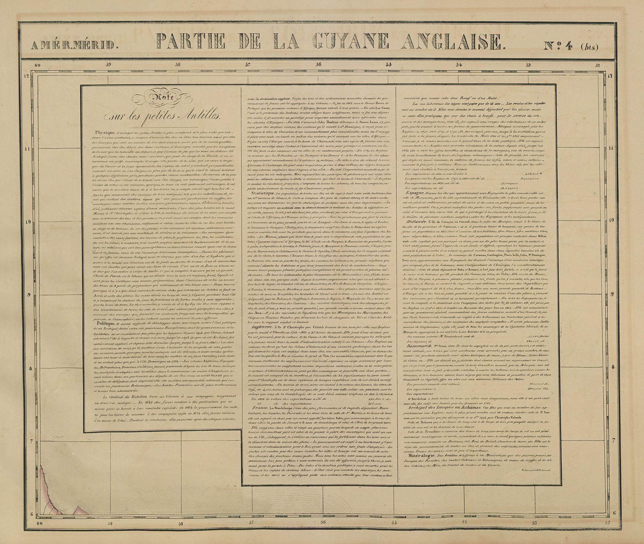 Amér. Mér. Guyane Anglaise #4 bis. Guyana Suriname. VANDERMAELEN 1827 old map