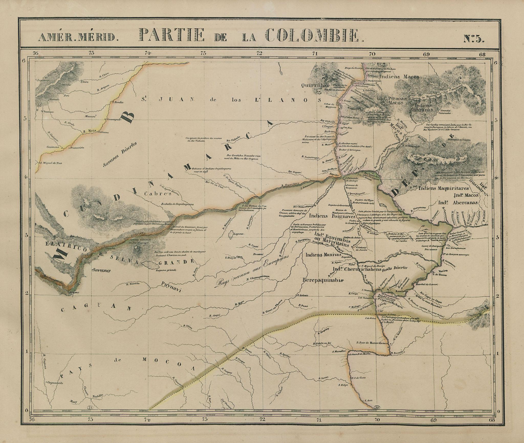 Amér Mér. Colombie #5 Eastern Colombia. NW Amazonas Brazil VANDERMAELEN 1827 map