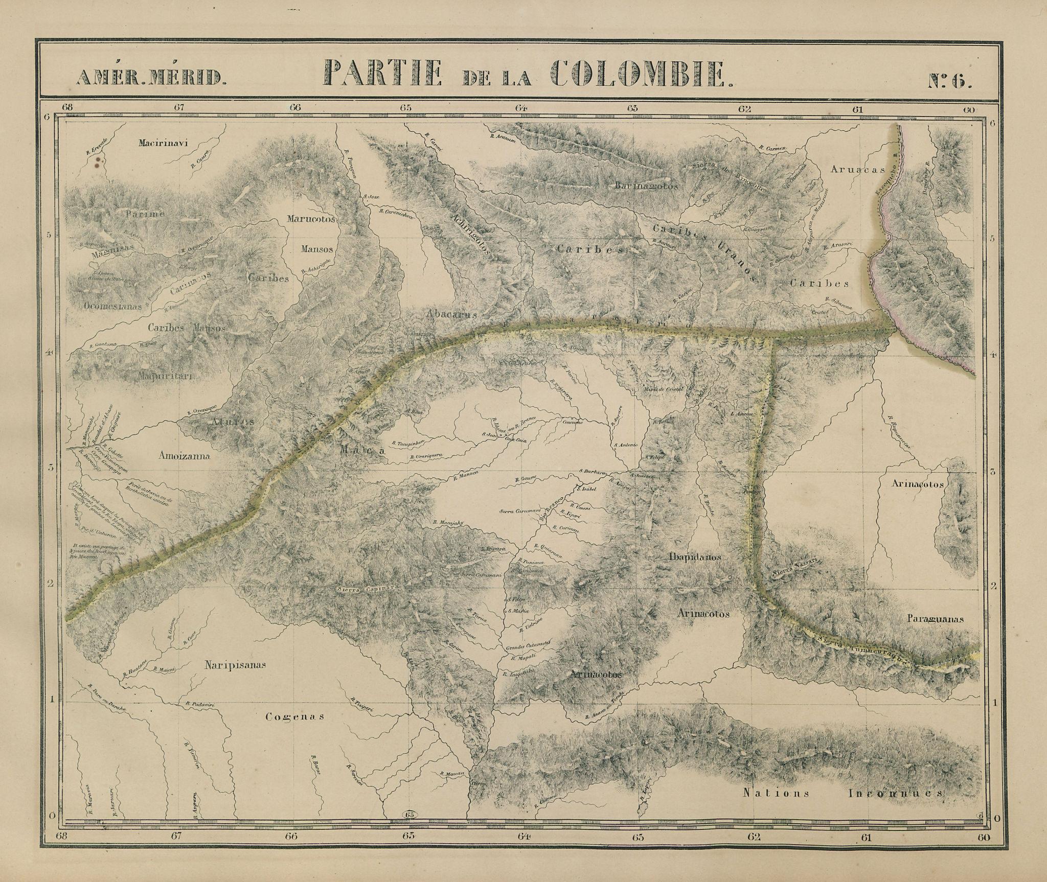 Amér Mér. Colombie #6 Venezuela Guyana. North Brazil AM RR VANDERMAELEN 1827 map