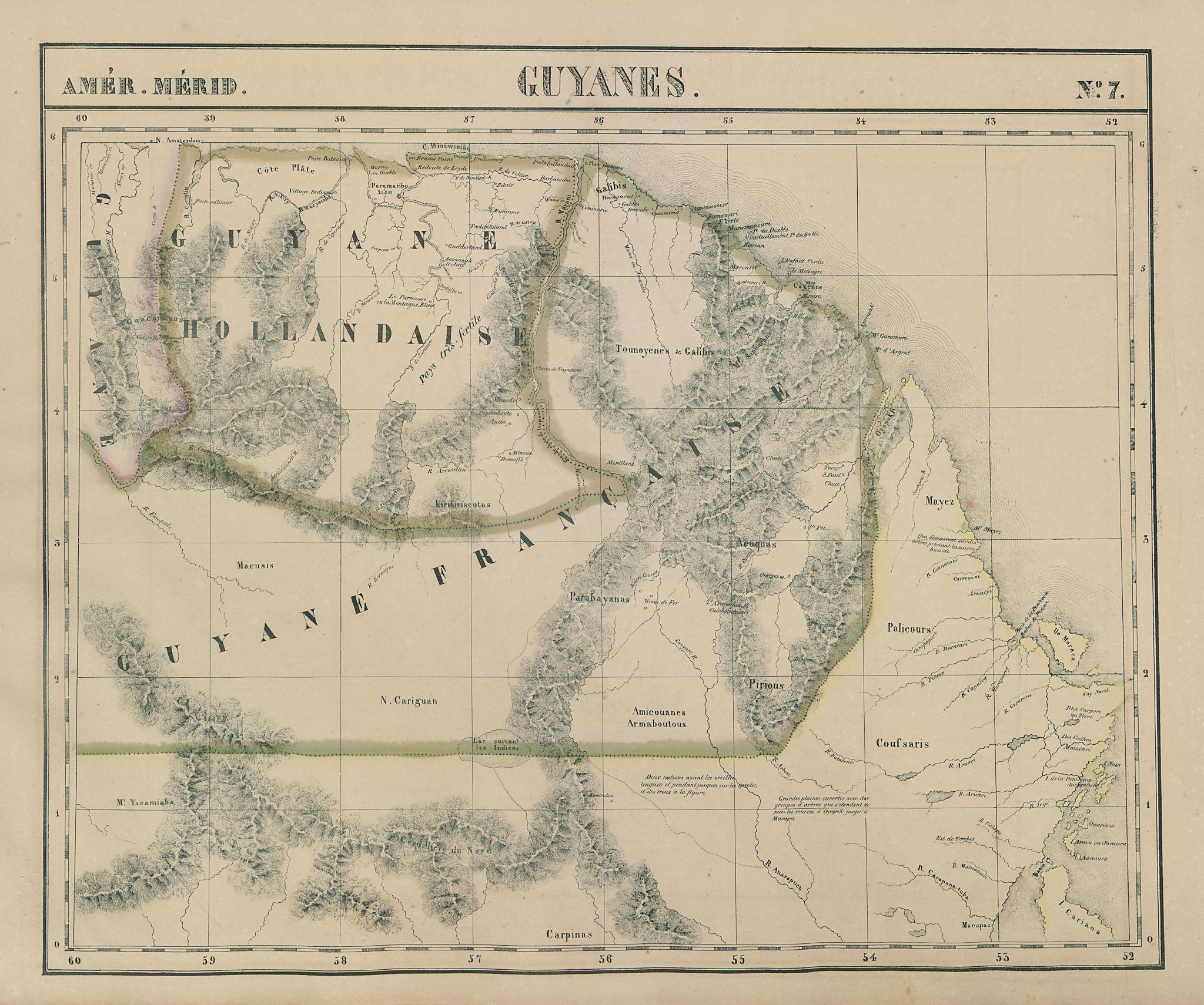 Amér. Mér. Guyanes #7 Suriname French Guiana. Brazil AP PA VANDERMAELEN 1827 map