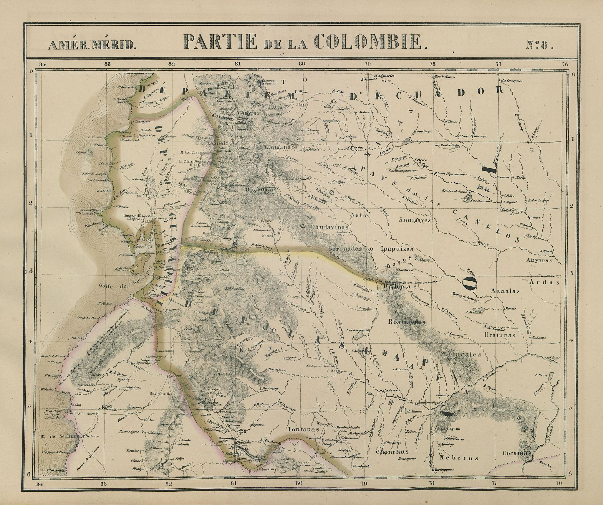 Amér. Mér. Colombie #8. Ecuador & north-western Peru. VANDERMAELEN 1827 map