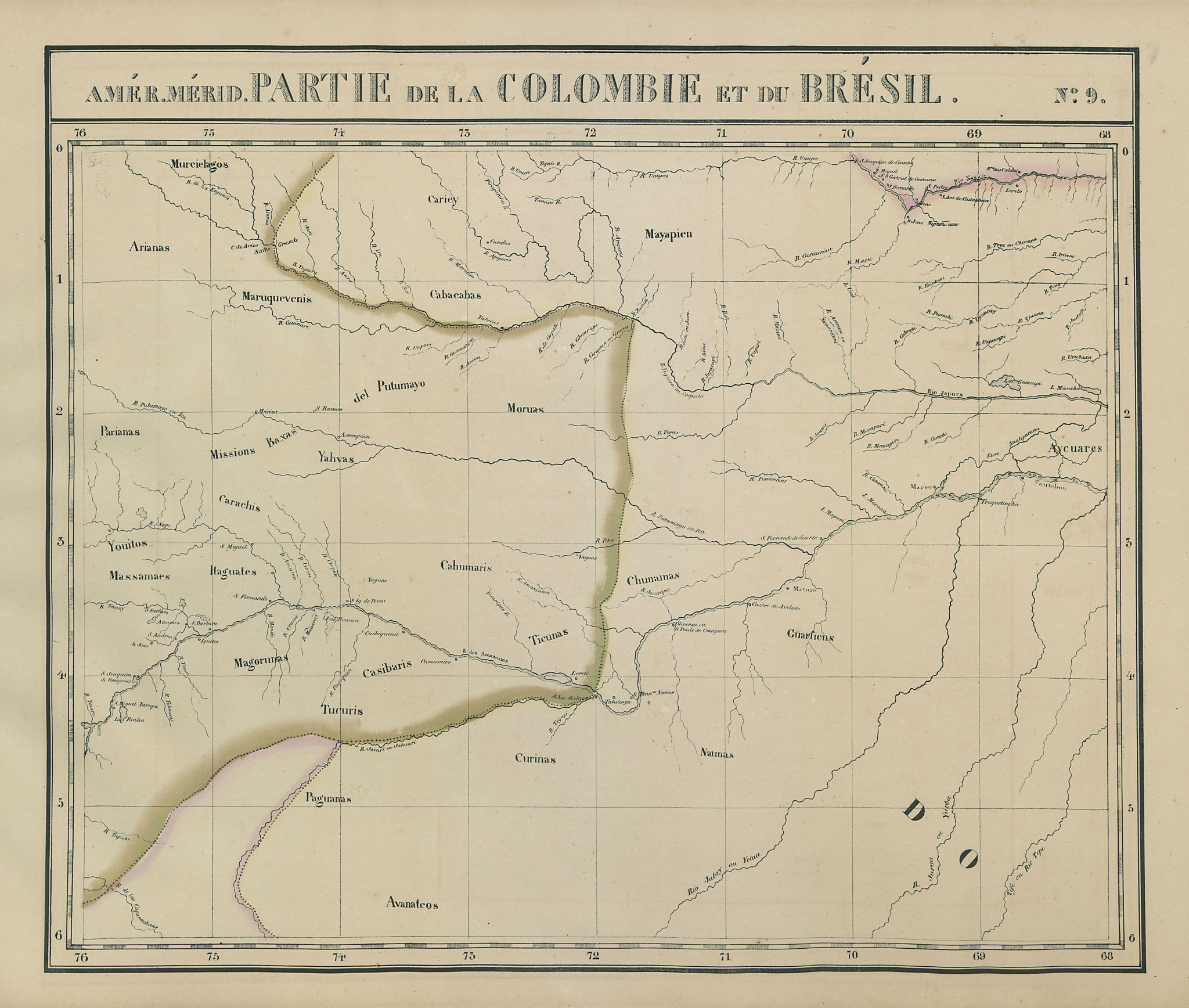 Amér Mér Colombie & Brésil 9 Peru Colombia Amazonas Brazil VANDERMAELEN 1827 map