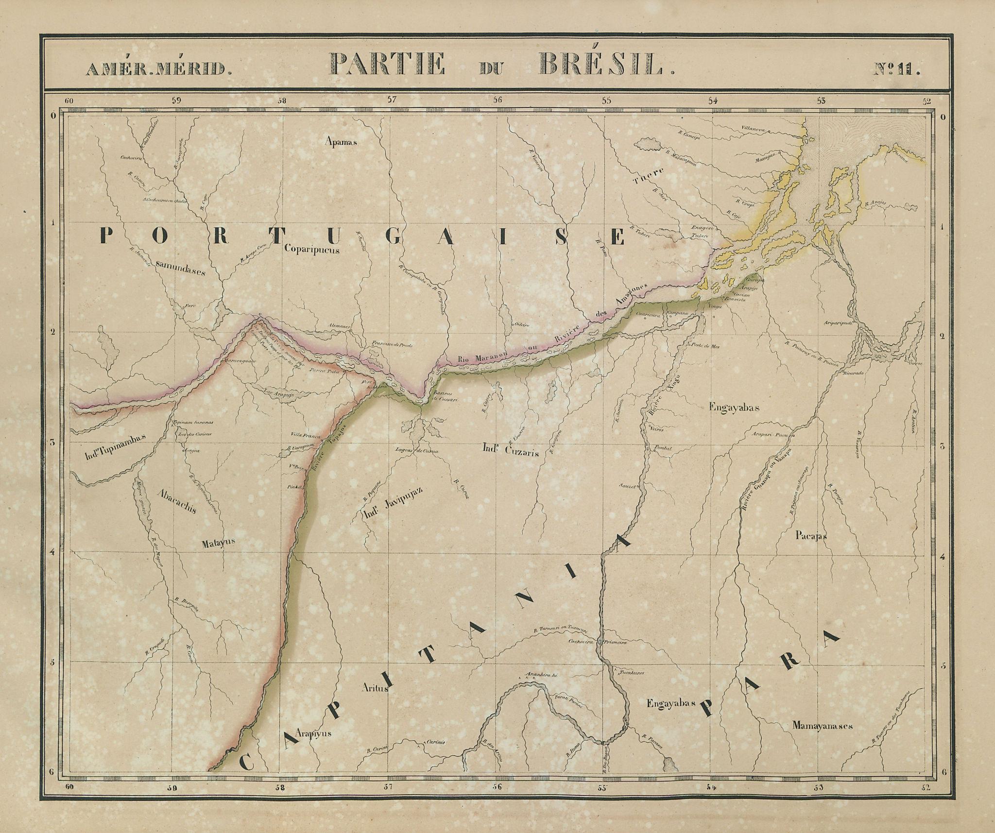 Amér. Mér. Brésil #11 Brazil. Lower Amazon in Para & Amapa VANDERMAELEN 1827
