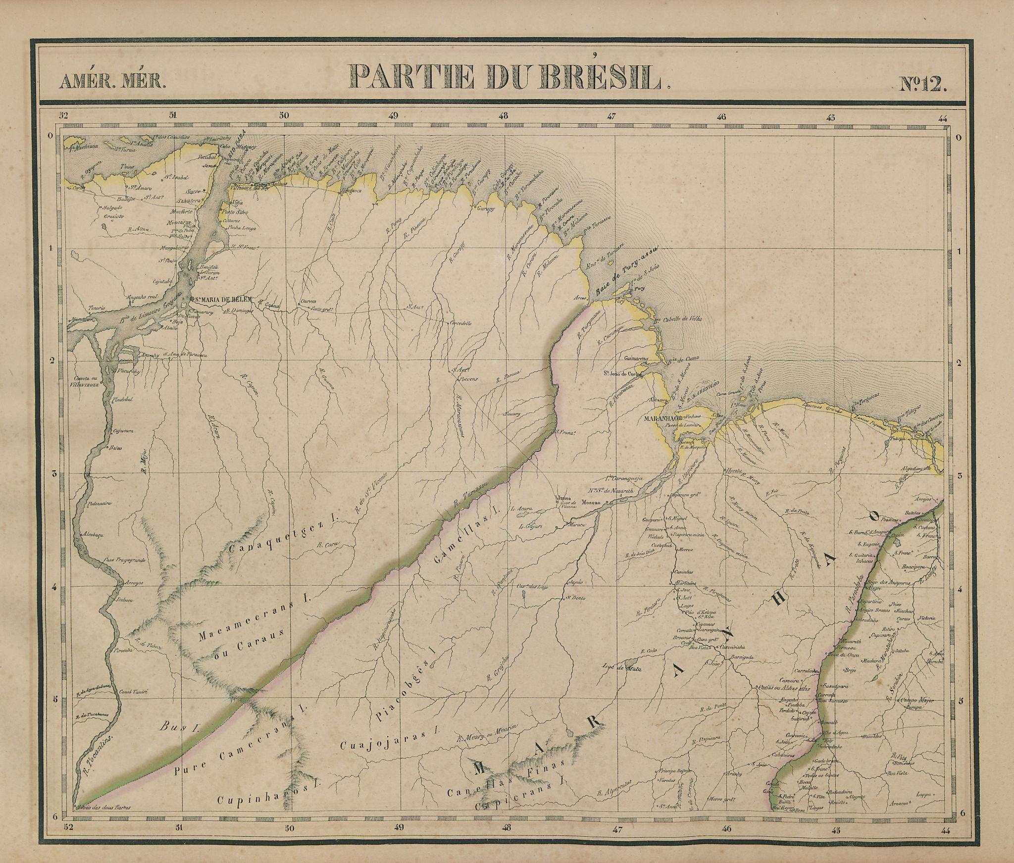 Amér. Mér. Brésil #12. NE Para & NW Maranhao, Brazil. VANDERMAELEN 1827 map