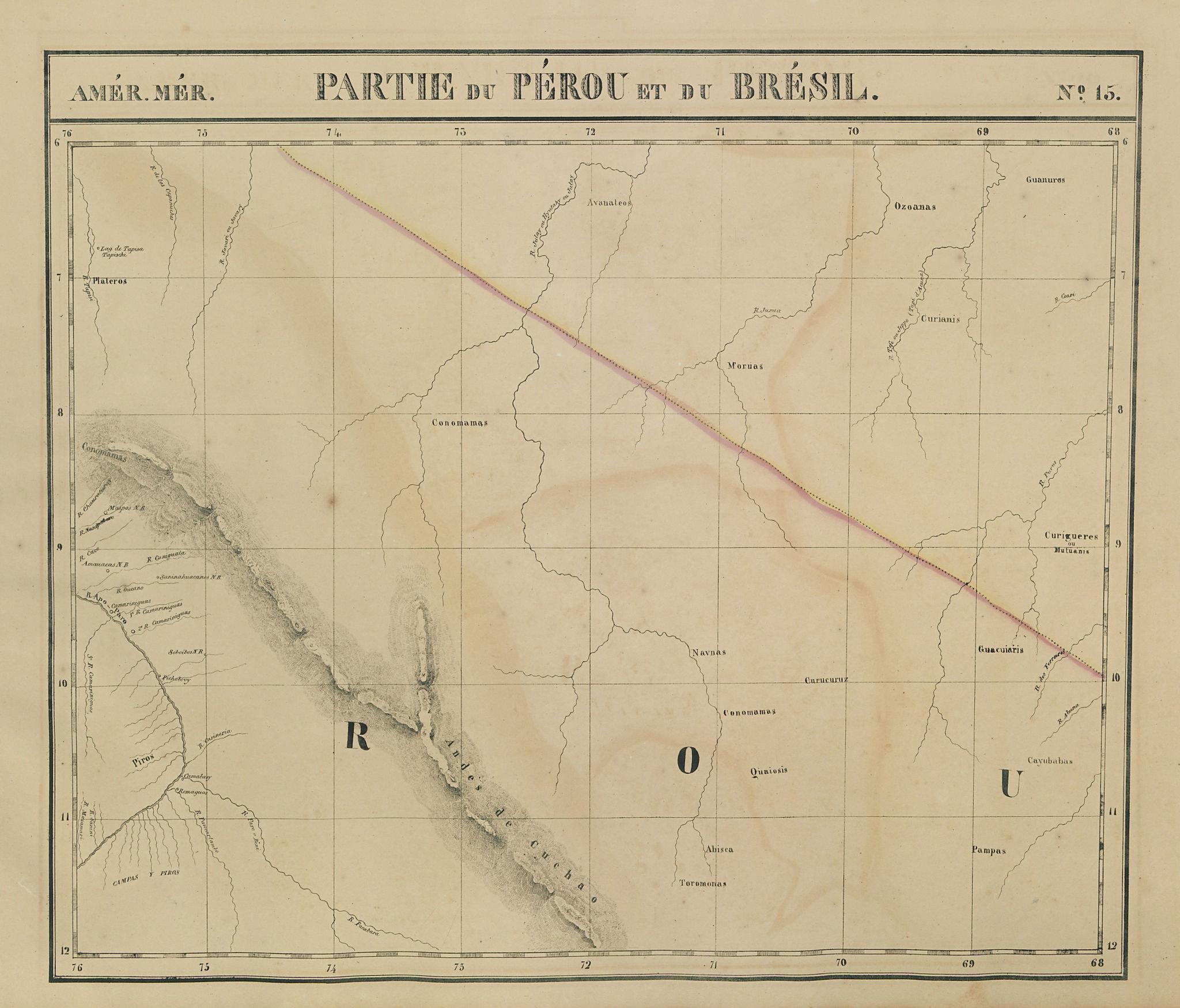 Amér. Mér. Pérou & Brésil #15. Peru Bolivia. Brazil AC AM. VANDERMAELEN 1827 map