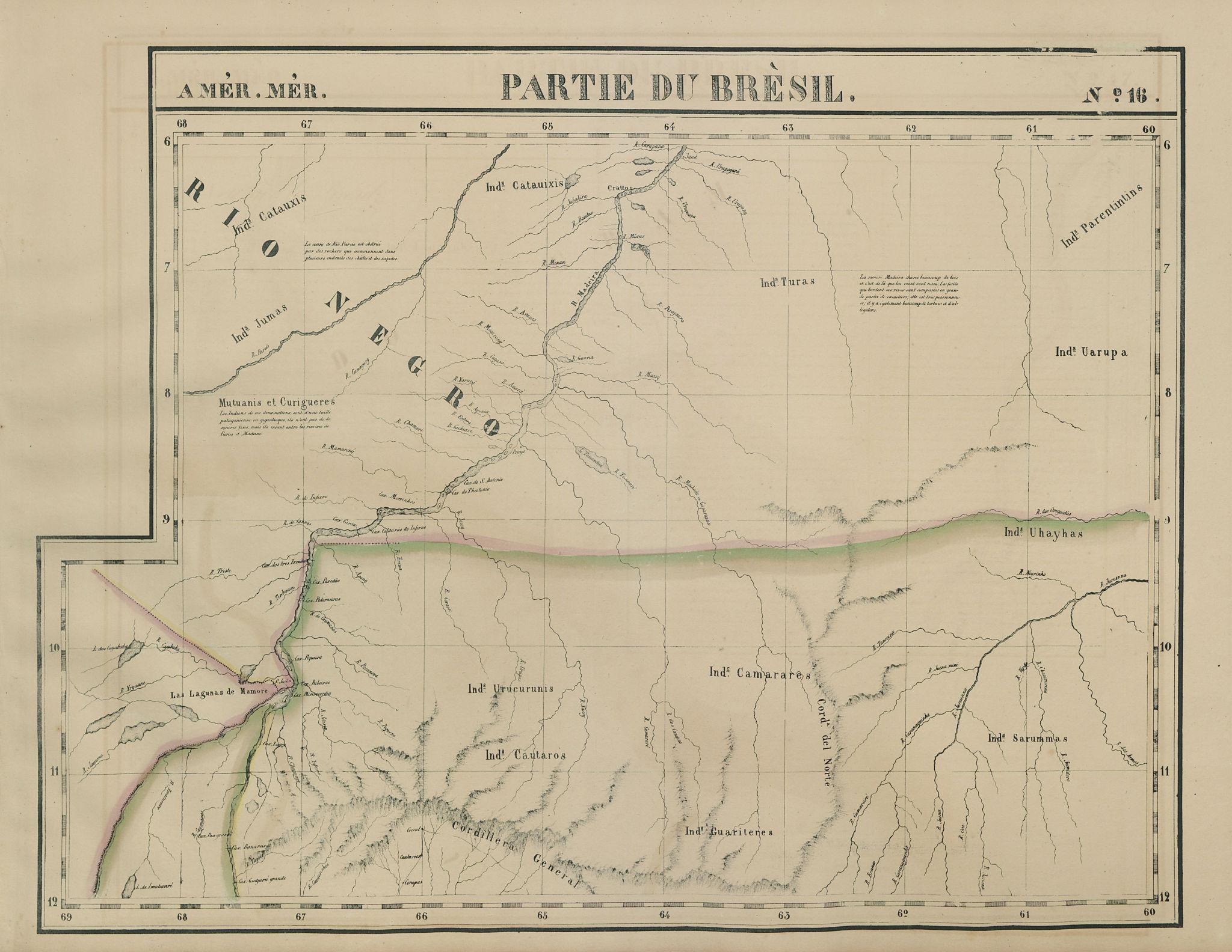 Amér Mér Brésil #16 North Bolivia. Western Brazil AM RO MT VANDERMAELEN 1827 map