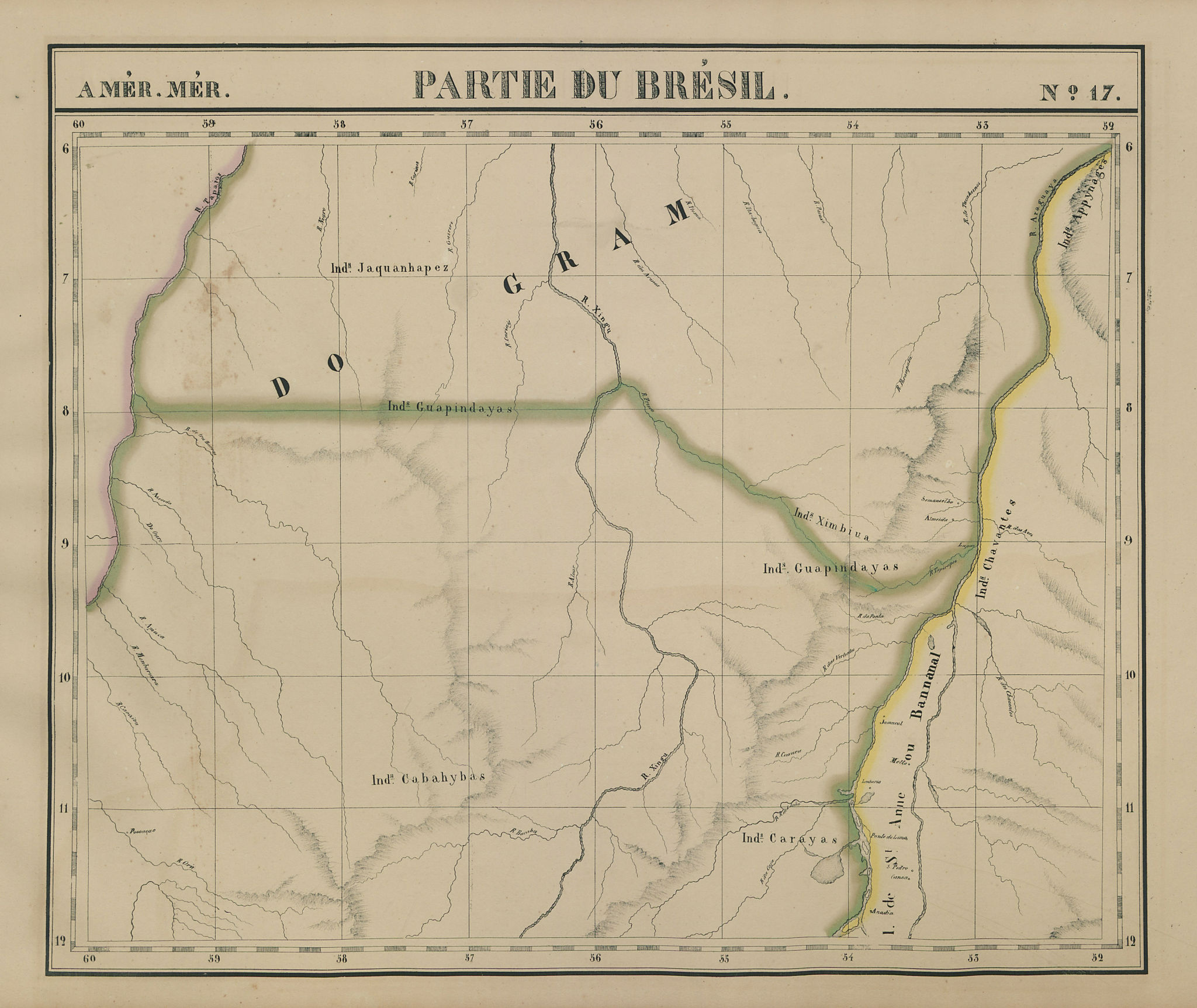 Amér. Mér. Brésil #17. NE Mato Grosso & SW Para, Brazil. VANDERMAELEN 1827 map
