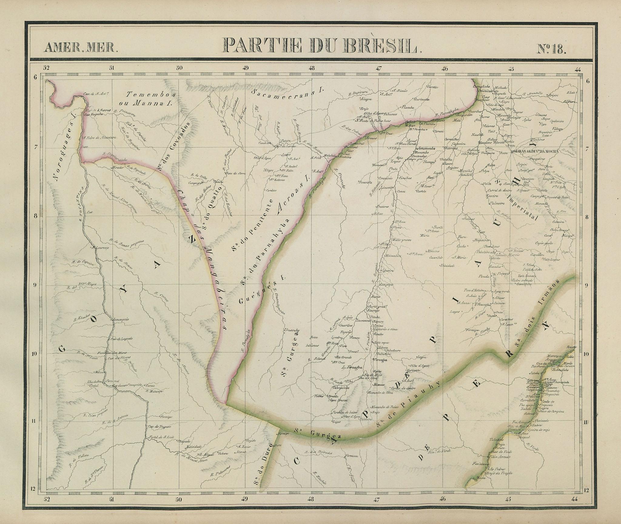 Amér. Mér. Brésil #18 North-central Brazil. PA TO BA MA PI VANDERMAELEN 1827 map