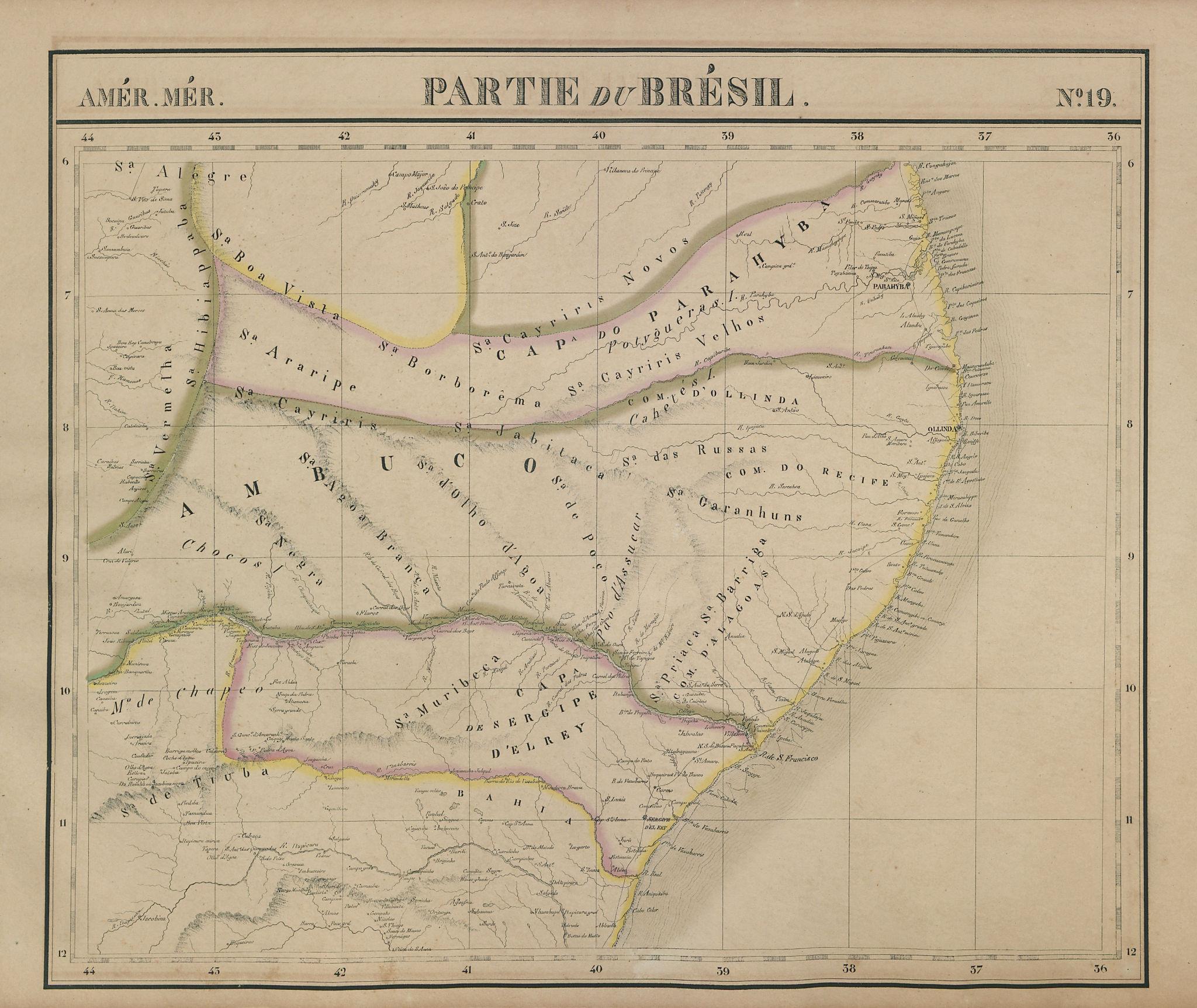 Amér Mér Brésil #19 NE Brazil SE AL PB RN BA CE Pernambuco VANDERMAELEN 1827 map
