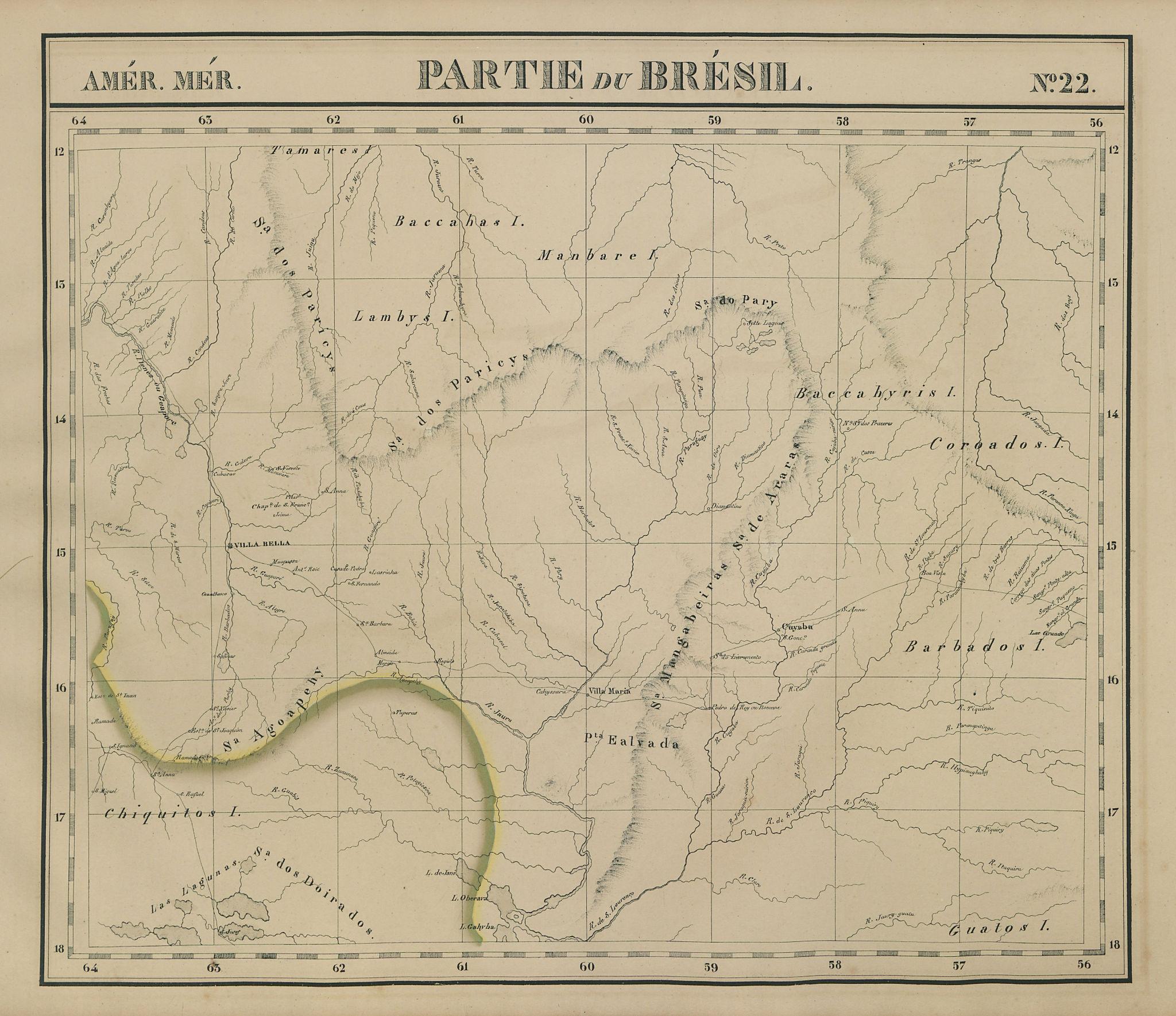 Amér. Mér. Brésil #22. Eastern Bolivia & SW Brazil. RO MT. VANDERMAELEN 1827 map