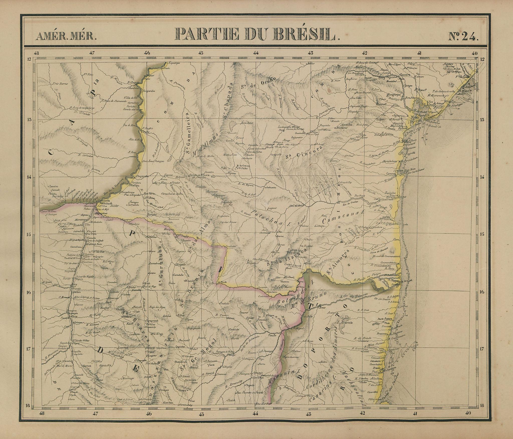 Amér. Mér. Brésil #24. Southern Bahia & NE Minas Gerais. VANDERMAELEN 1827 map