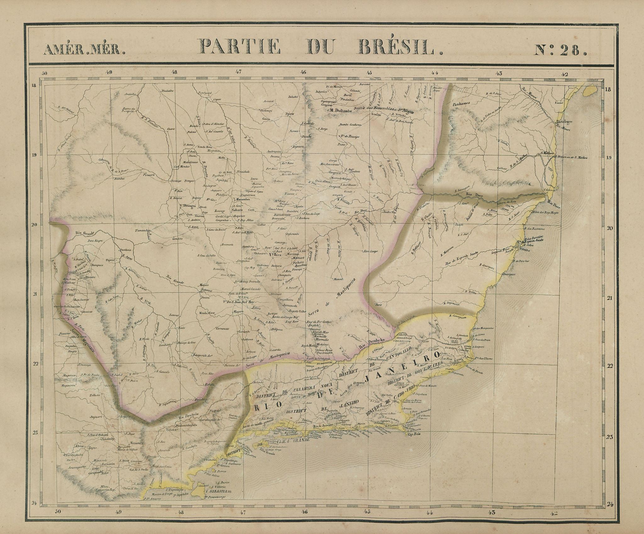 Amér Mér. Brésil 28 SE Brazil. MG Rio de Janeiro SP ES VANDERMAELEN 1827 map