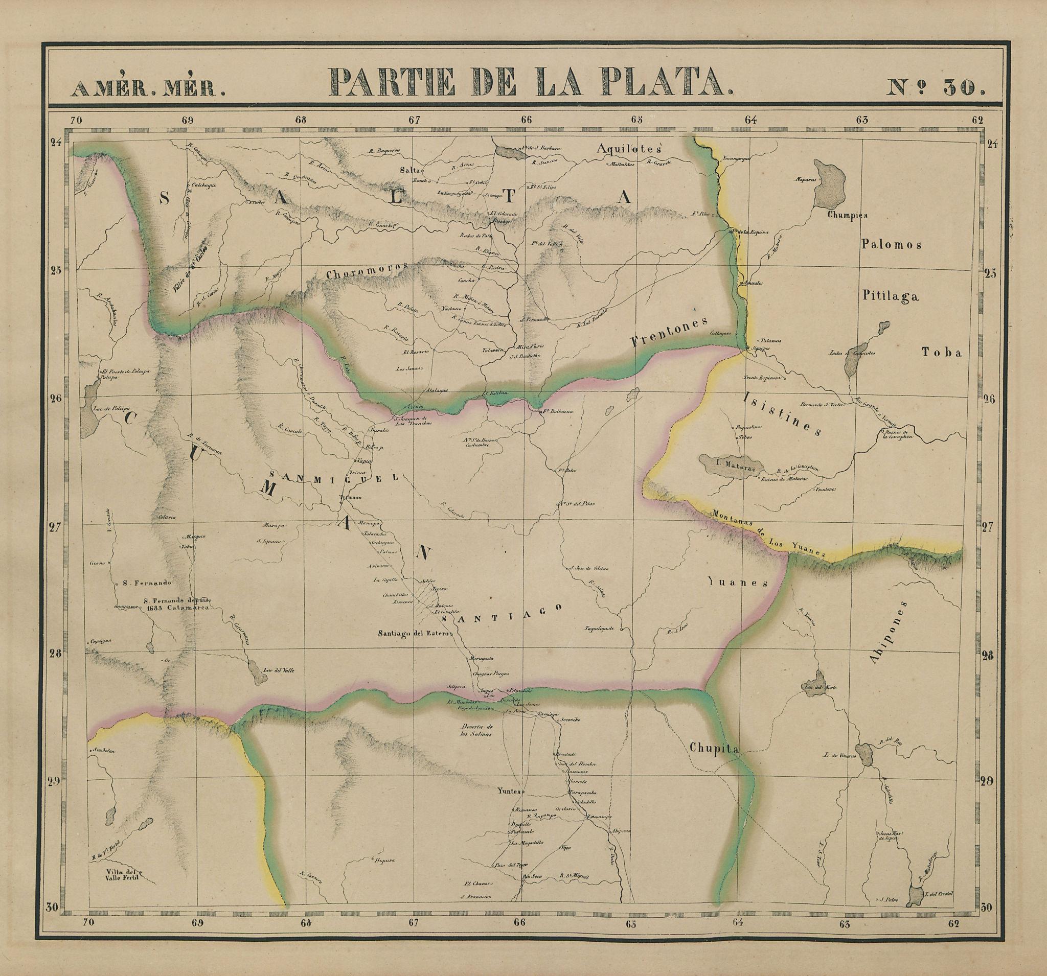 Amér. Mér. Plata #30. Northwest Argentina & Chaco. VANDERMAELEN 1827 old map