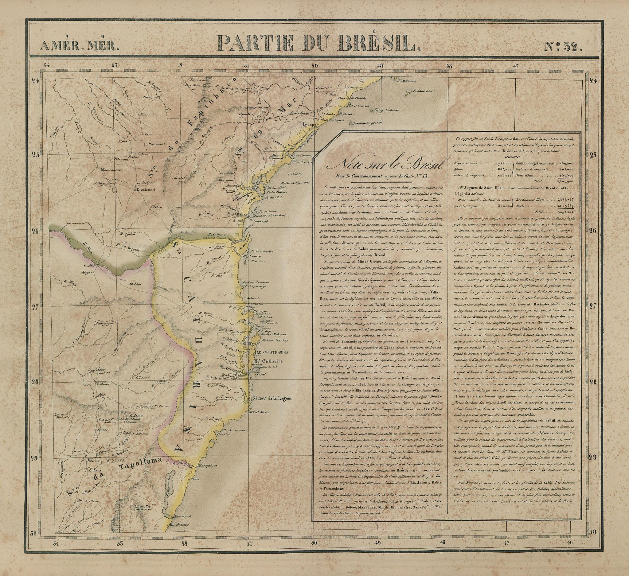 Amér. Mér. Brésil #32. Southern Brazil. SC PR SP RS. VANDERMAELEN 1827 old map