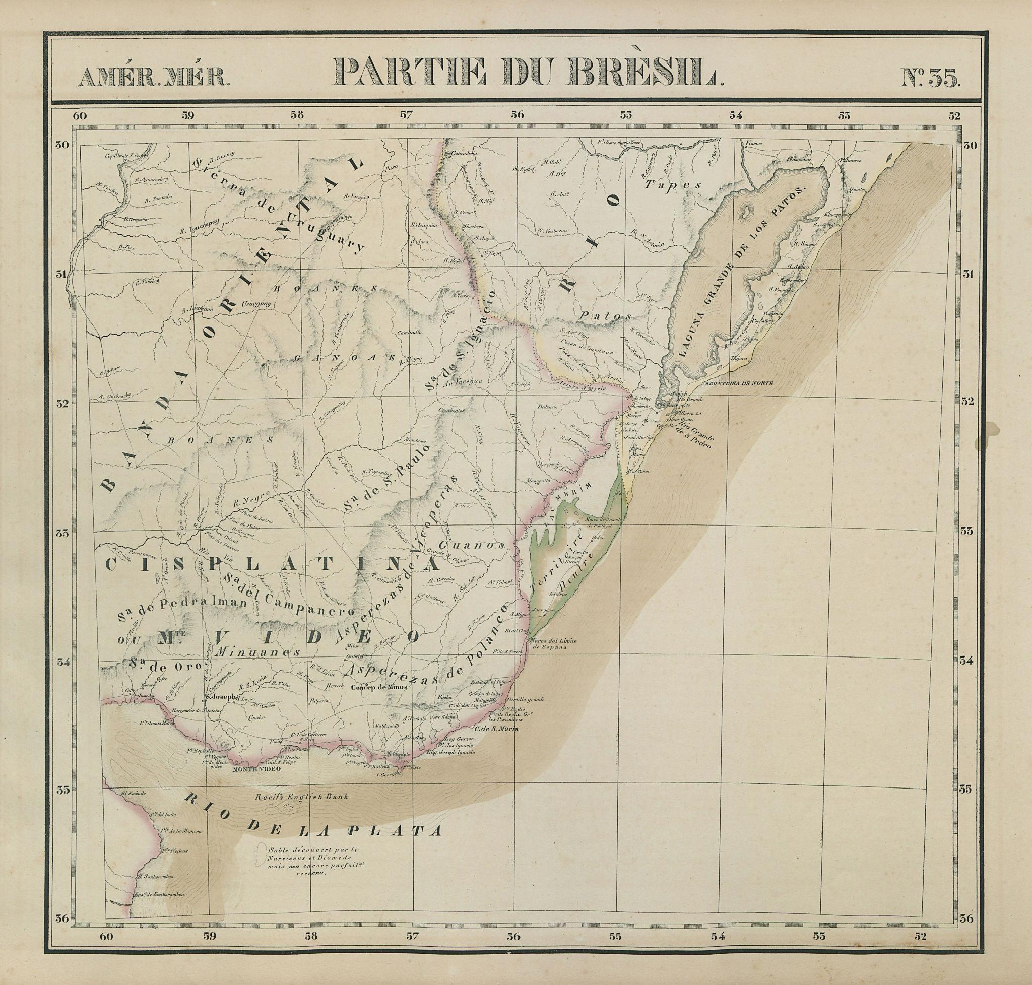 Amér. Mér. Brésil #35 Uruguay & Rio Grande do Sul, Brazil. VANDERMAELEN 1827 map