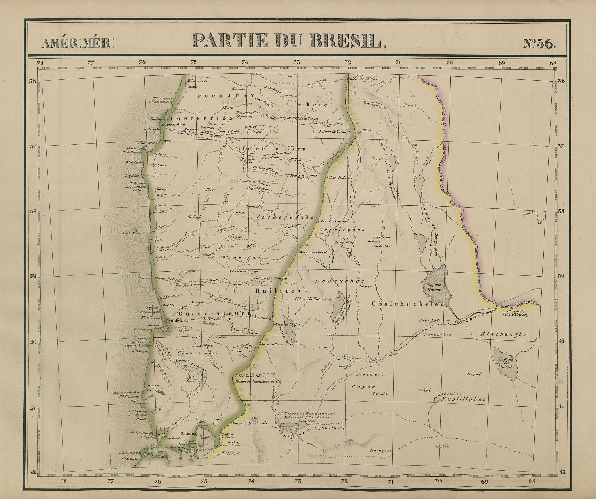 Amér Mér. Brésil #36 Central Chile. West-central Argentina VANDERMAELEN 1827 map