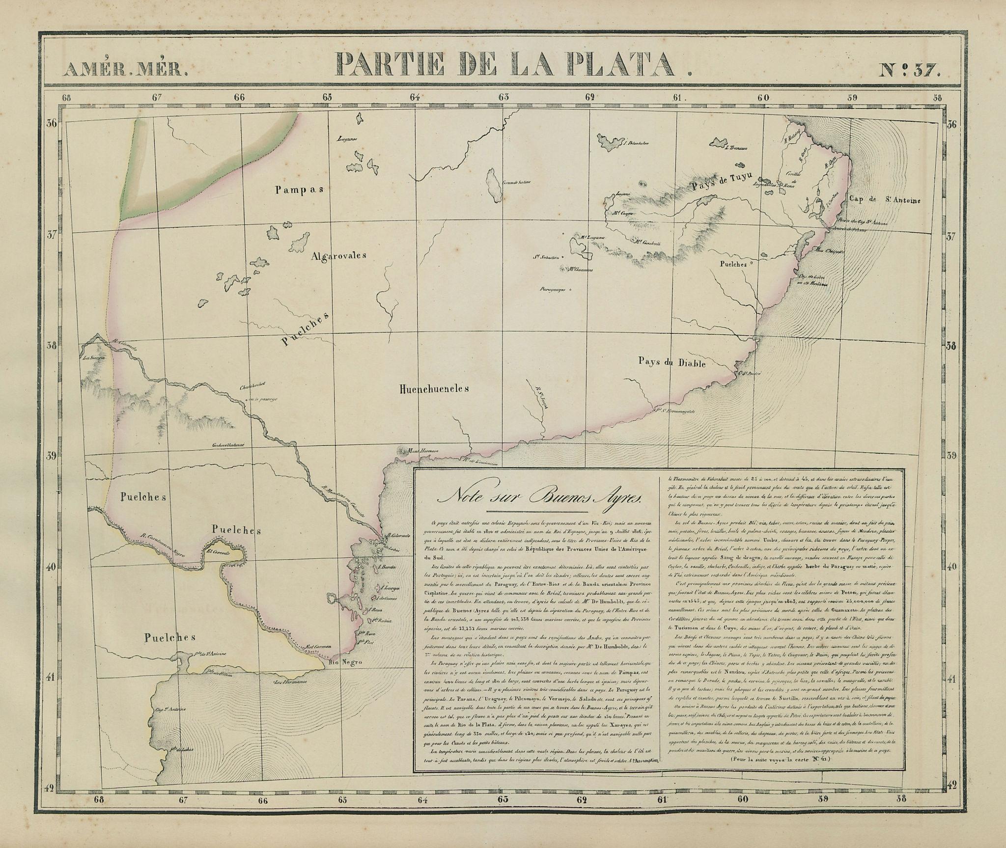 Amér Mér Plata #37 Argentina Buenos Aires Pampas Rio Negro VANDERMAELEN 1827 map