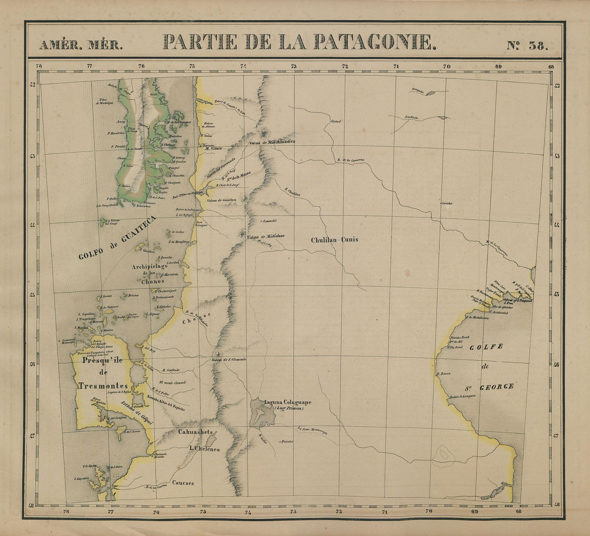 Amér. Mér. Patagonie #38. North Patagonia. Chile Argentina VANDERMAELEN 1827 map