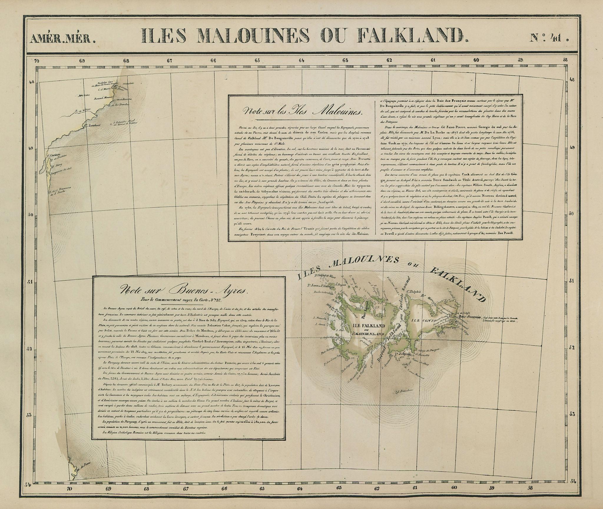 Amér. Mér. Iles Malouines #41. Falkland Islands Patagonia. VANDERMAELEN 1827 map