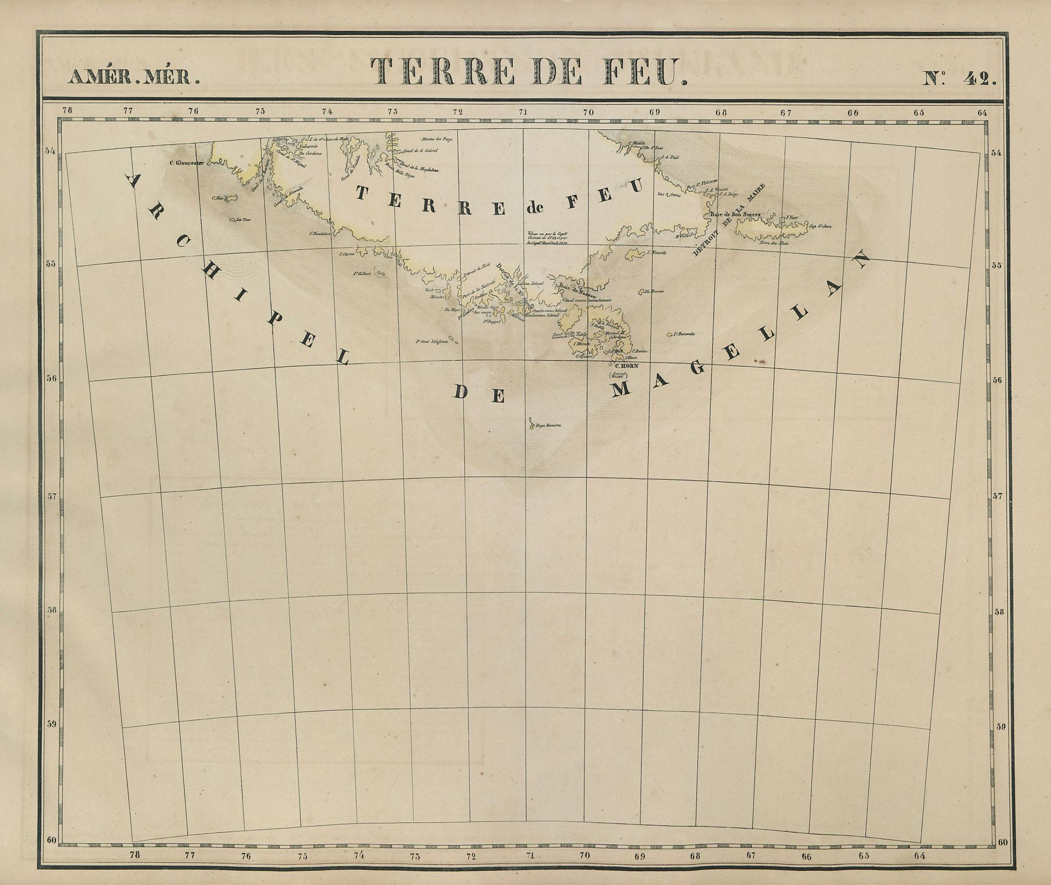 Amér Mér Terre de Feu #42 Tierra del Fuego Argentina Chile VANDERMAELEN 1827 map