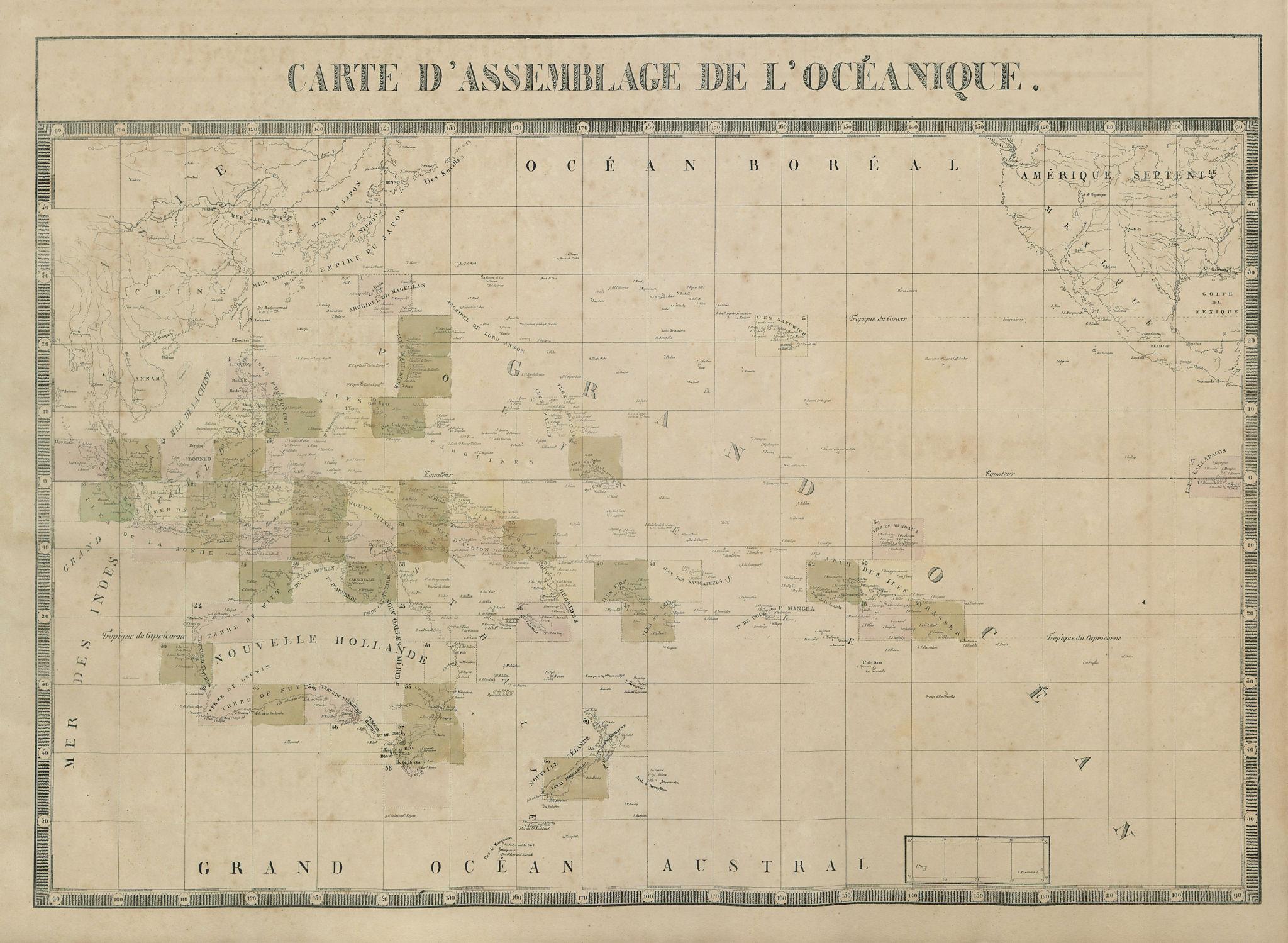 Carte d'Assemblage de l'Océanique. Pacific Ocean Oceania. VANDERMAELEN 1827 map