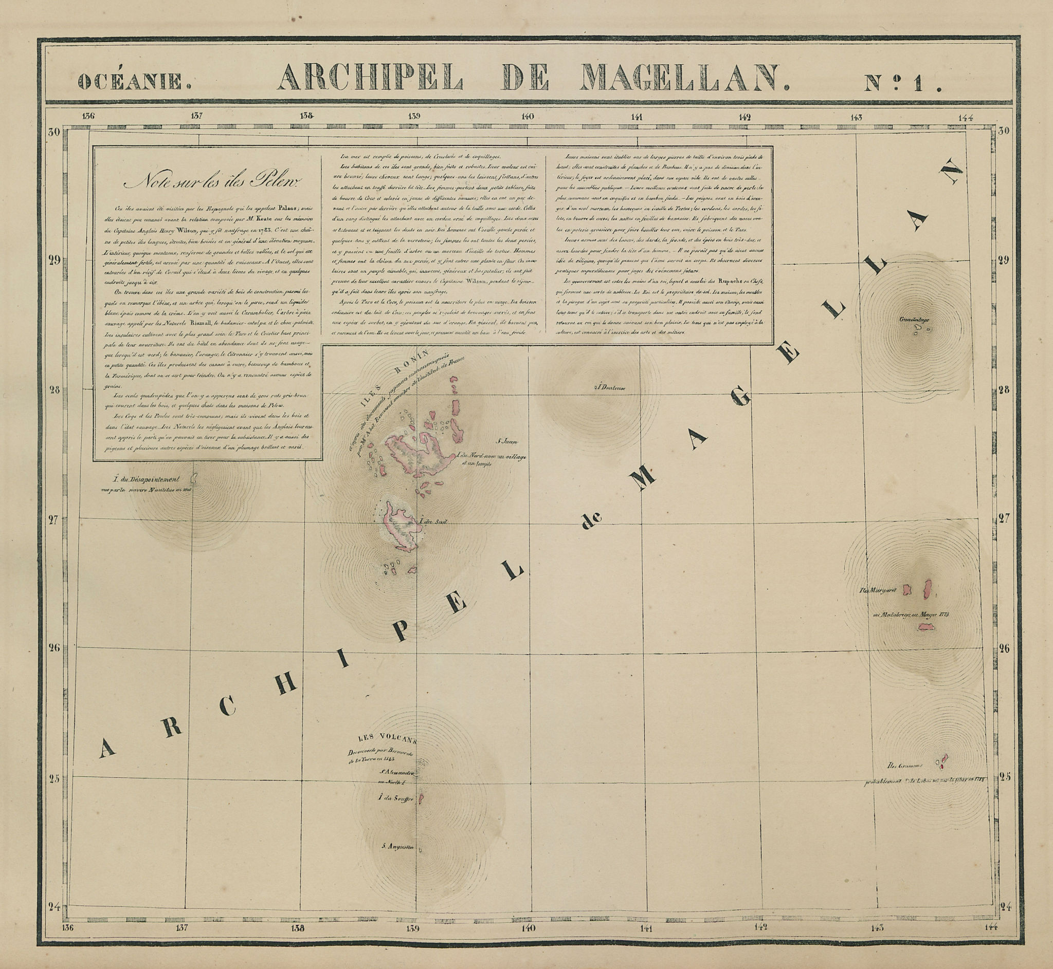 Océanie. Archipel de Magellan #1. Bonin Ogasawara Islands. VANDERMAELEN 1827 map