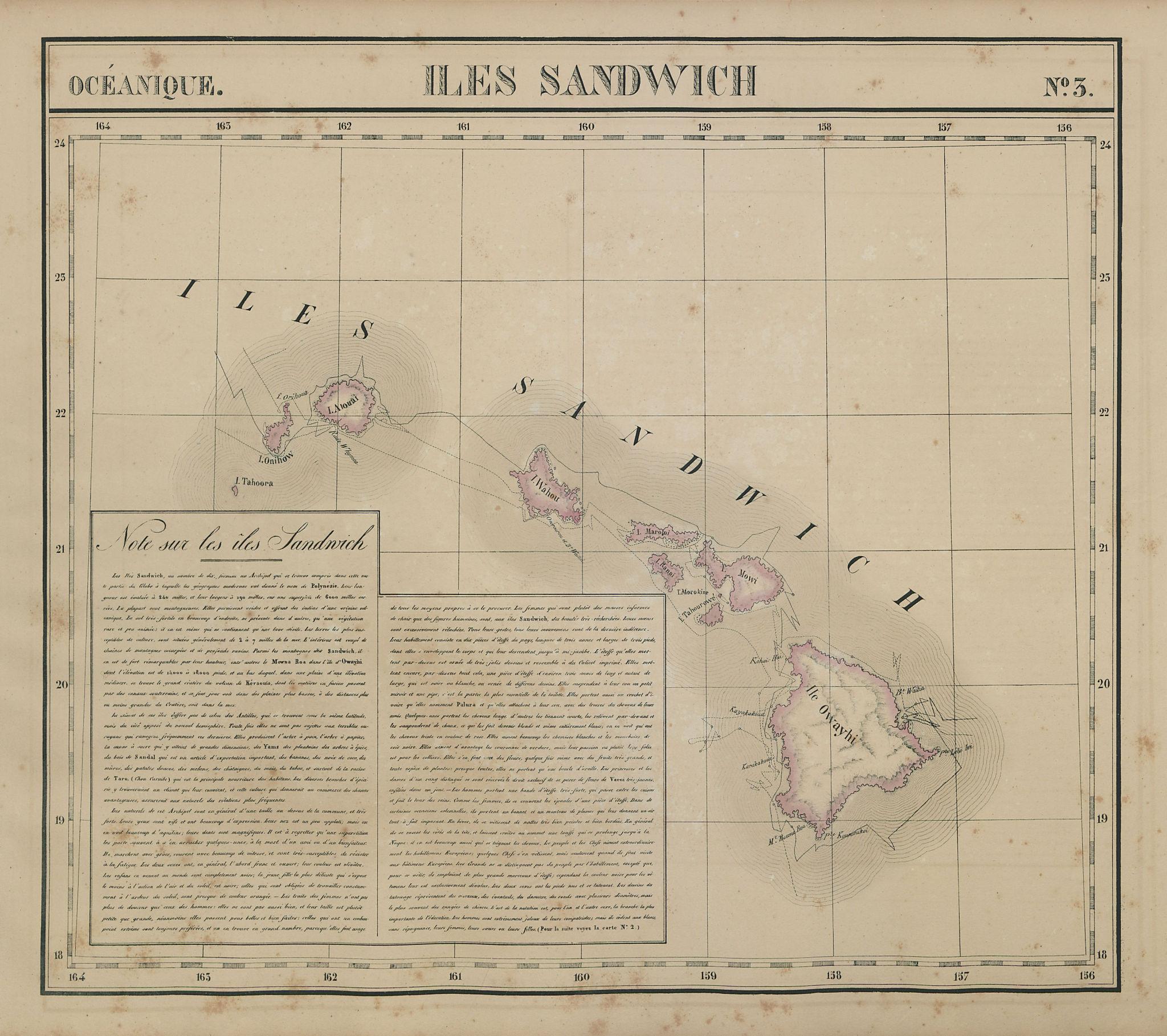 Océanique. Iles Sandwich #3. Hawaii Oahu Kauai Maui. VANDERMAELEN 1827 old map