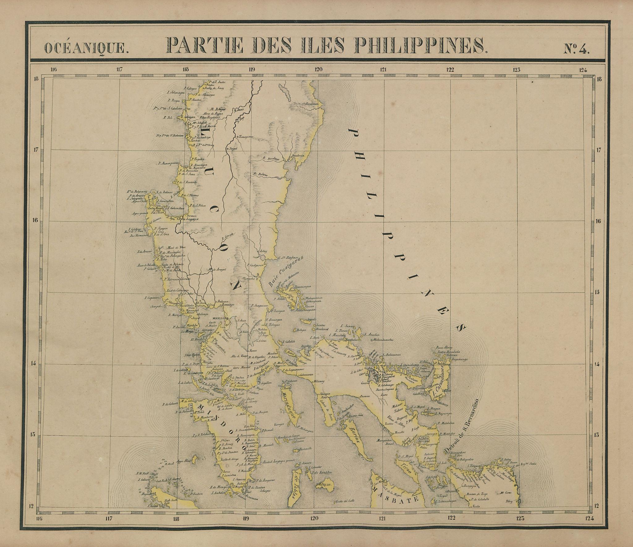 Océanique. Partie des Iles Philippines #4. Luzon Mindoro. VANDERMAELEN 1827 map