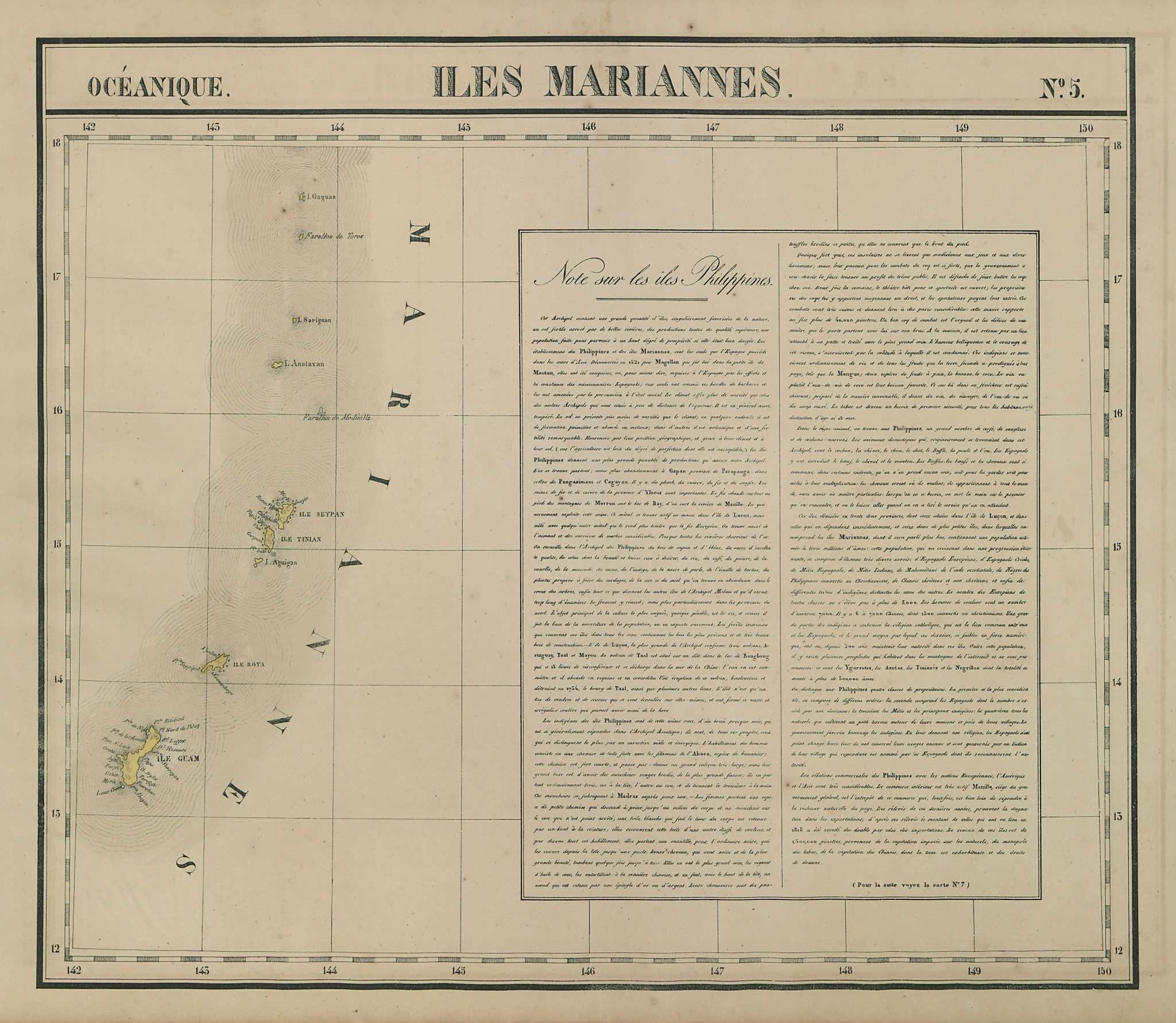 Océanique. Iles Mariannes #5. Mariana Islands Guam Saipan. VANDERMAELEN 1827 map