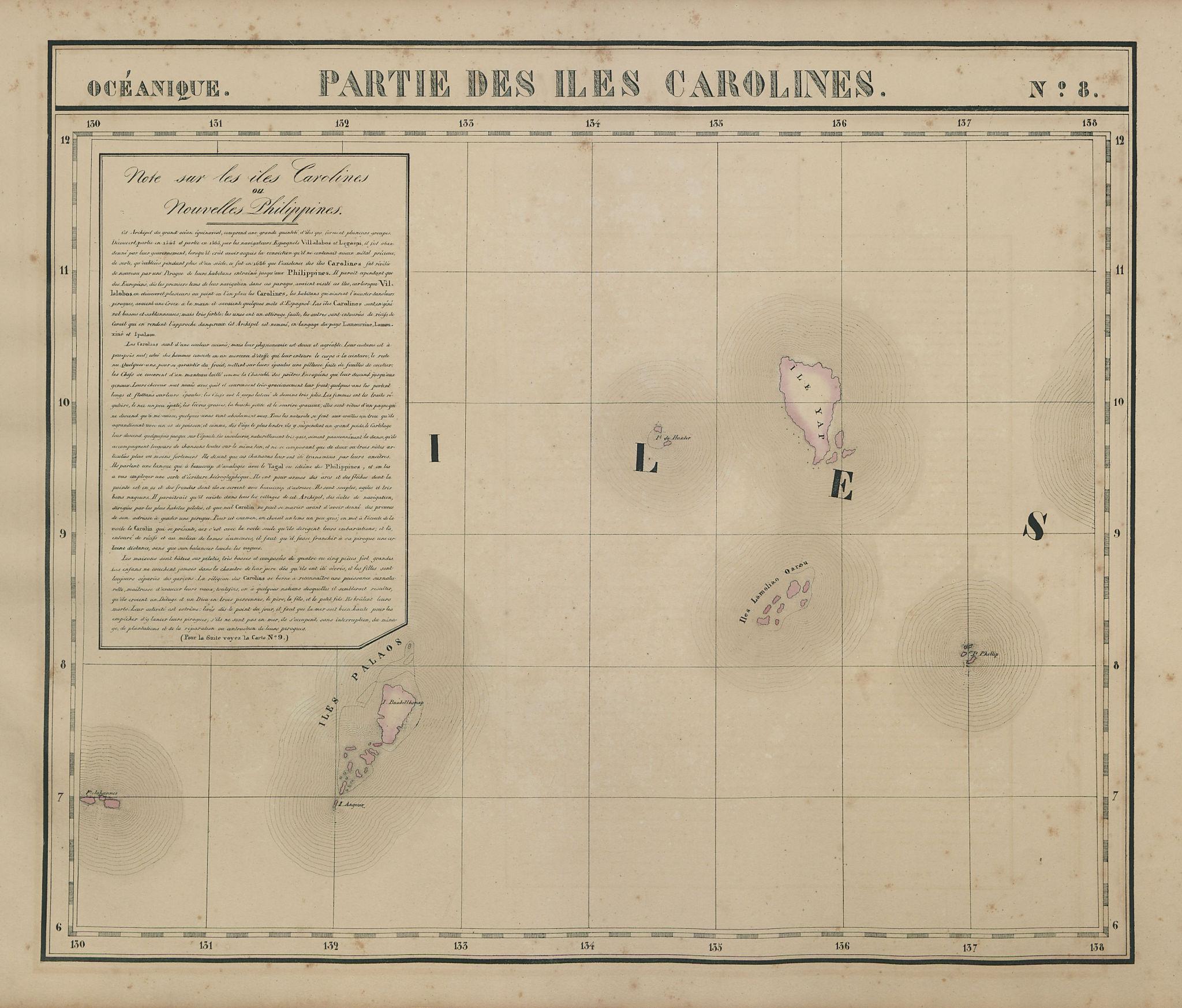 Océanique. Partie des Iles Carolines #8. Palau Micronesia. VANDERMAELEN 1827 map