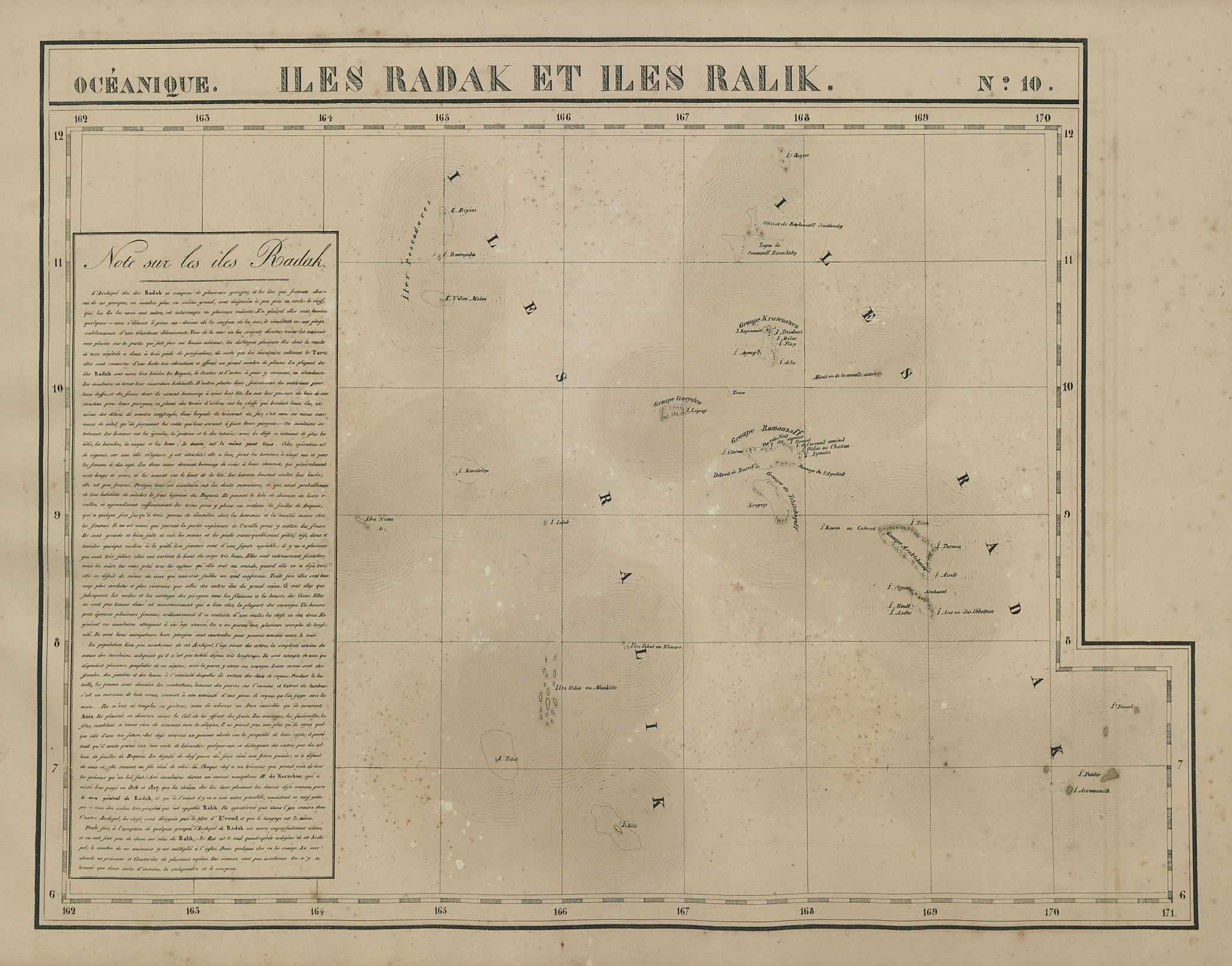 Océanique. Iles Radak et Iles Ralik #10. Marshall Islands. VANDERMAELEN 1827 map