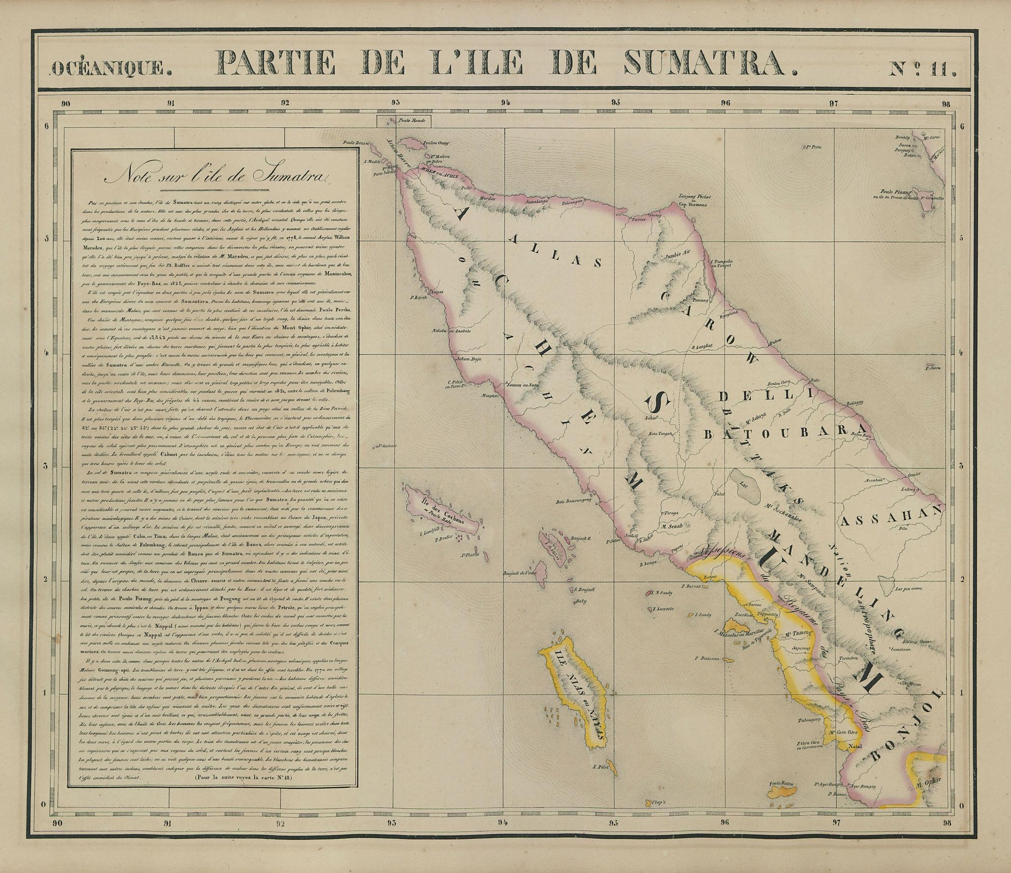 Océanique. Partie de l'Ile de Sumatra #11. North Sumatra. VANDERMAELEN 1827 map