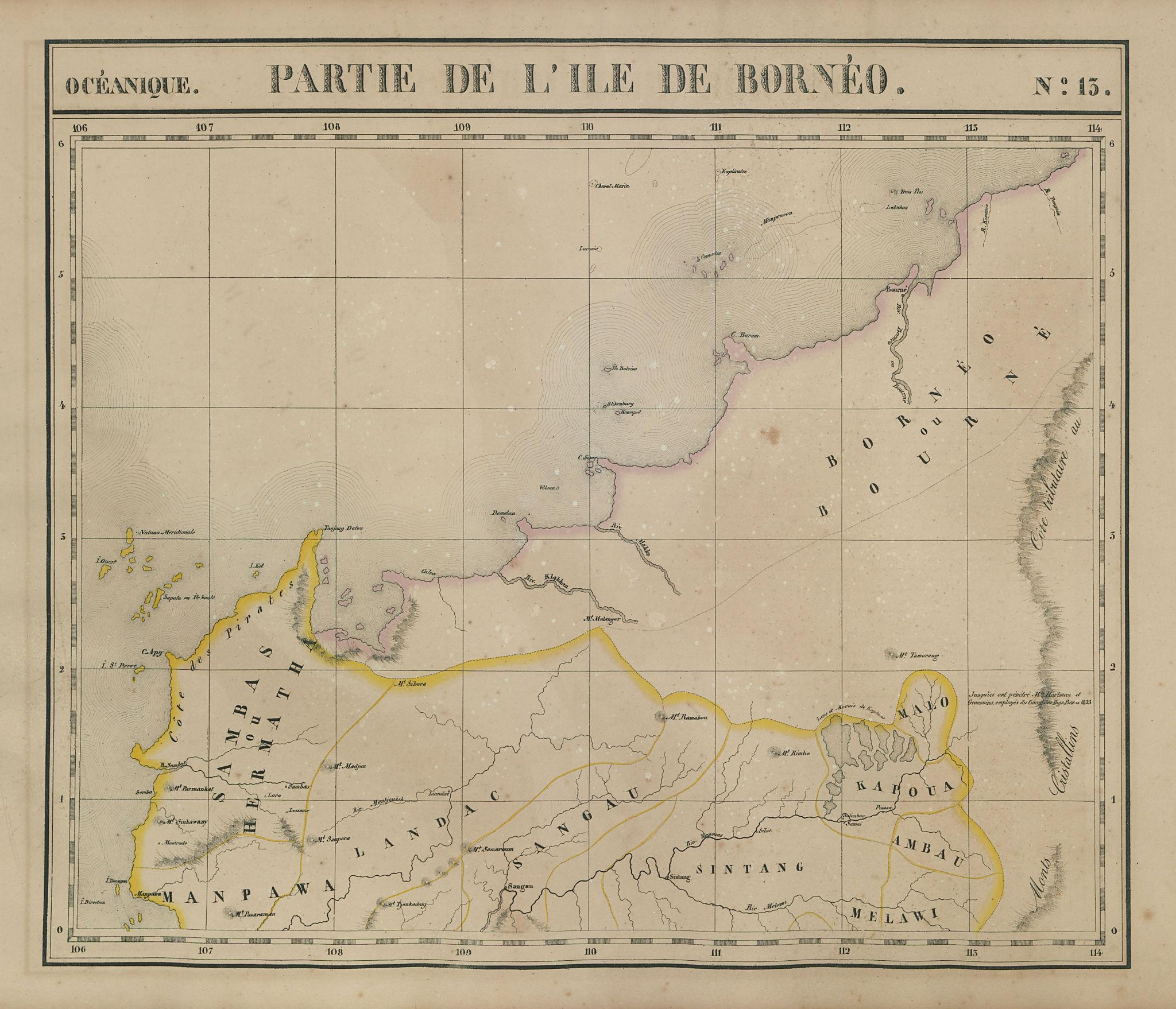 Océanique Partie de l'Ile de Bornéo #13 Northwest Borneo VANDERMAELEN 1827 map