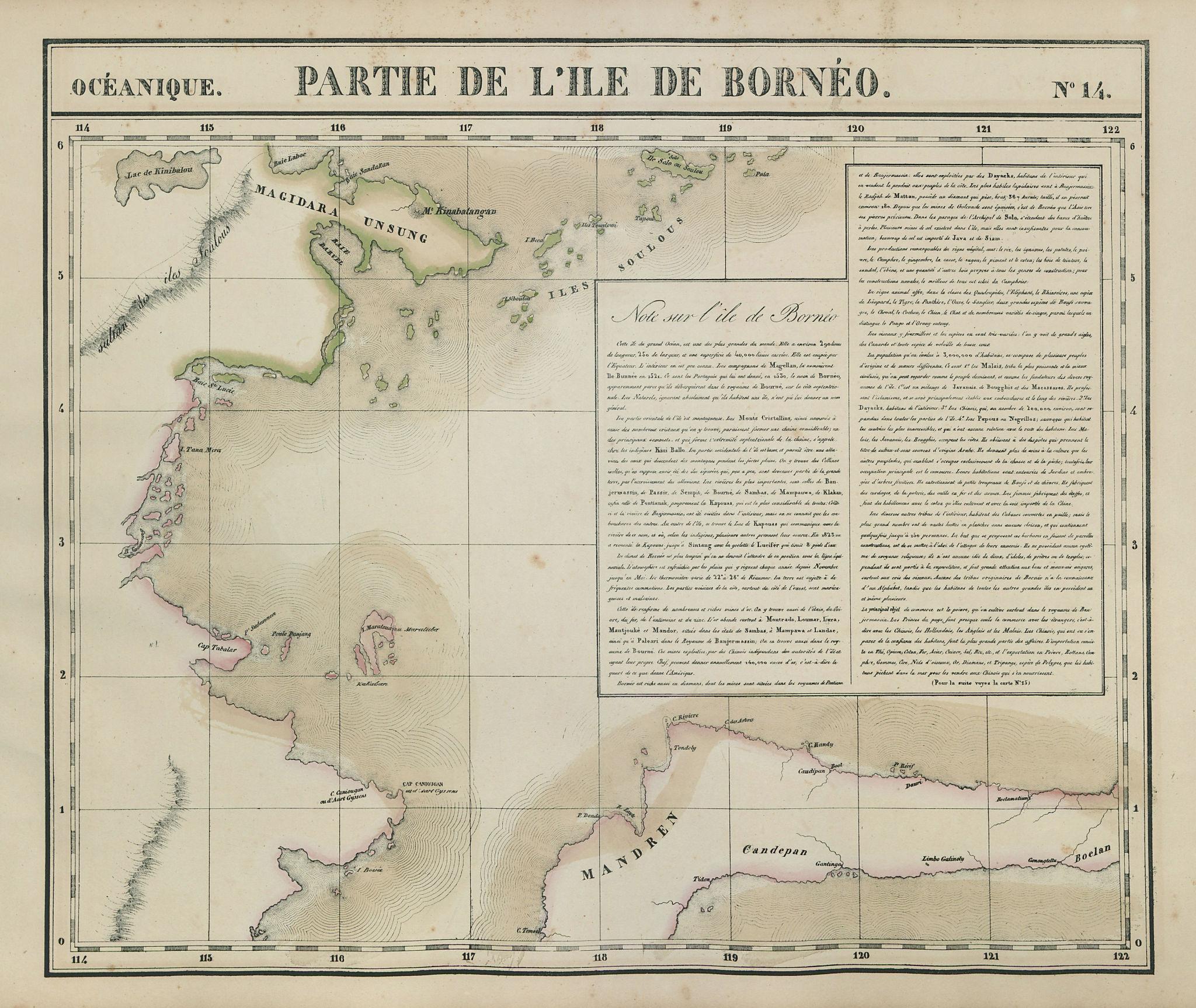 Océanique. Partie de l'Ile de Bornéo #14. Borneo Sulawesi. VANDERMAELEN 1827 map
