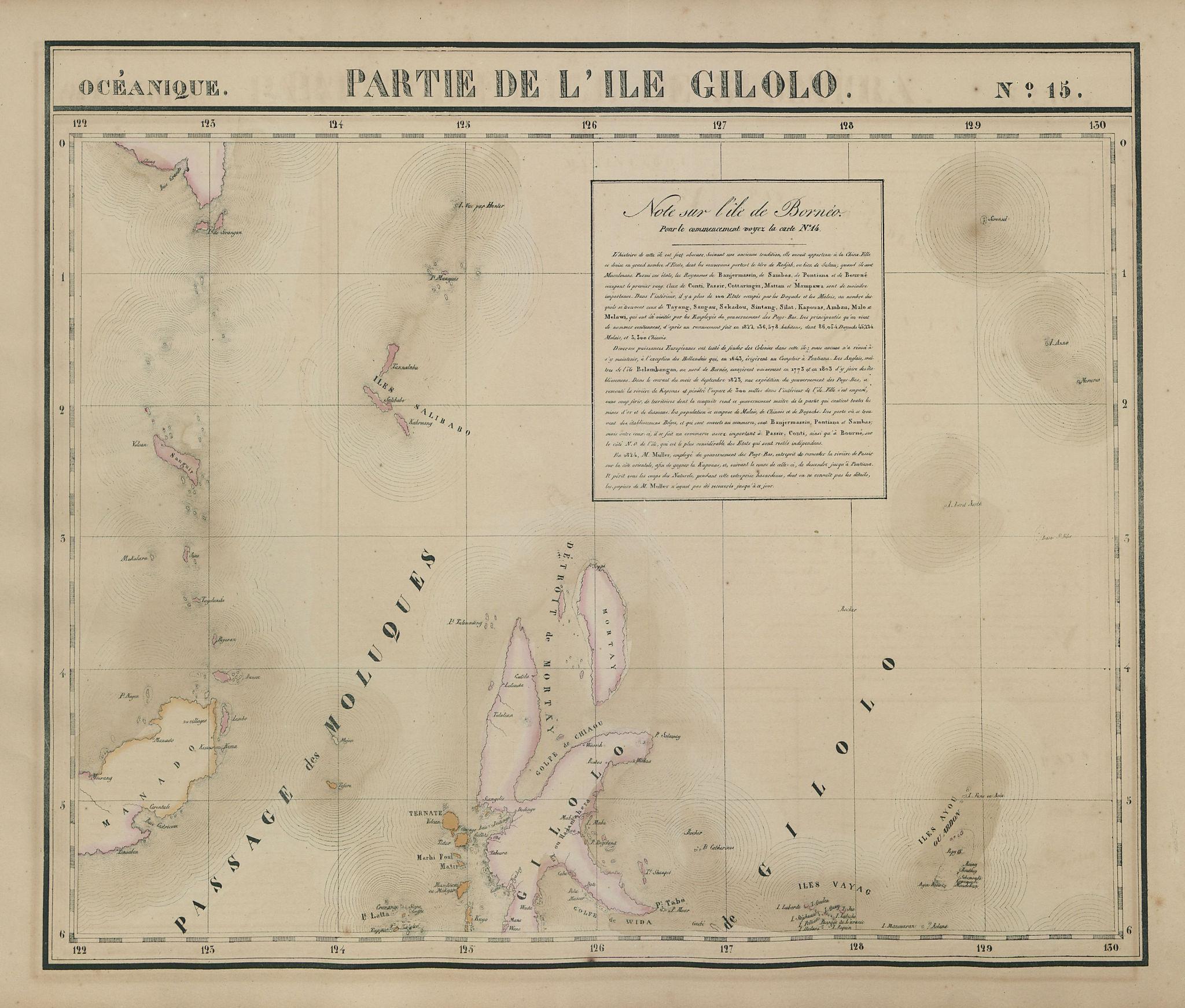 Océanique. Partie de l'Ile Gilolo #15. Halmahera & Manado. VANDERMAELEN 1827 map