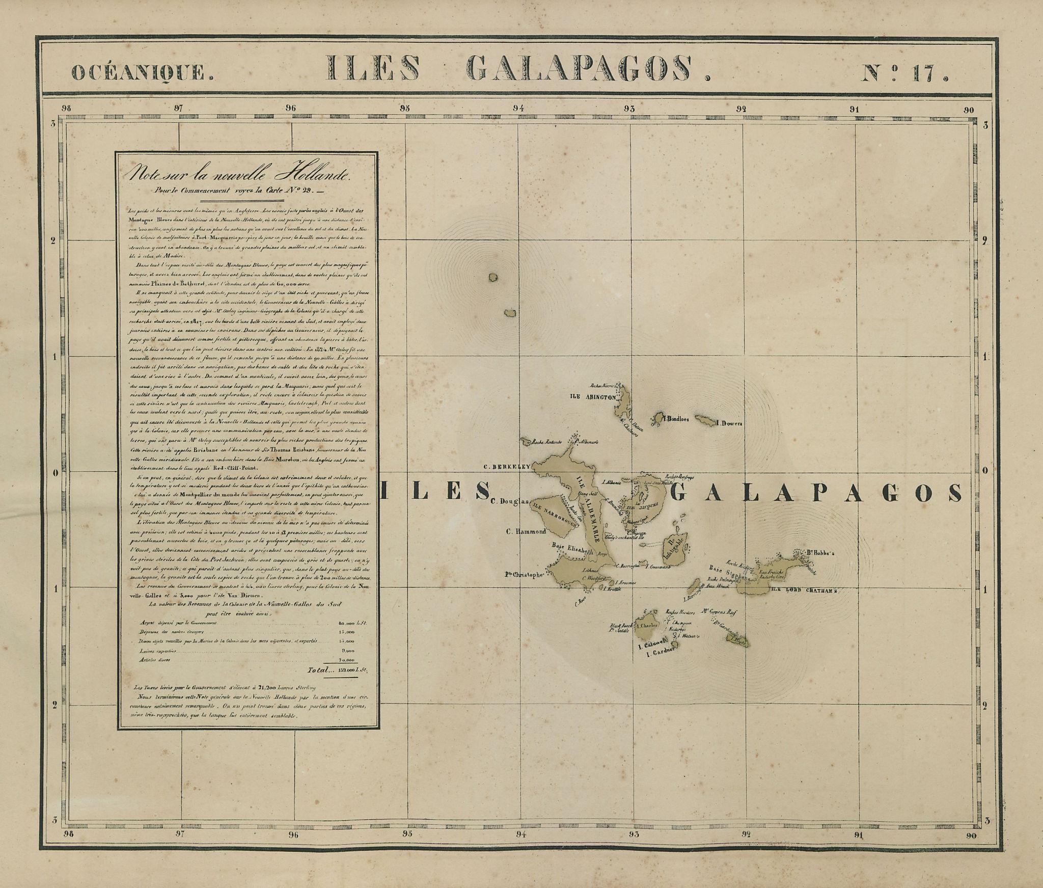 Océanique. Iles Galapagos #17. Galapagos Islands Ecuador. VANDERMAELEN 1827 map