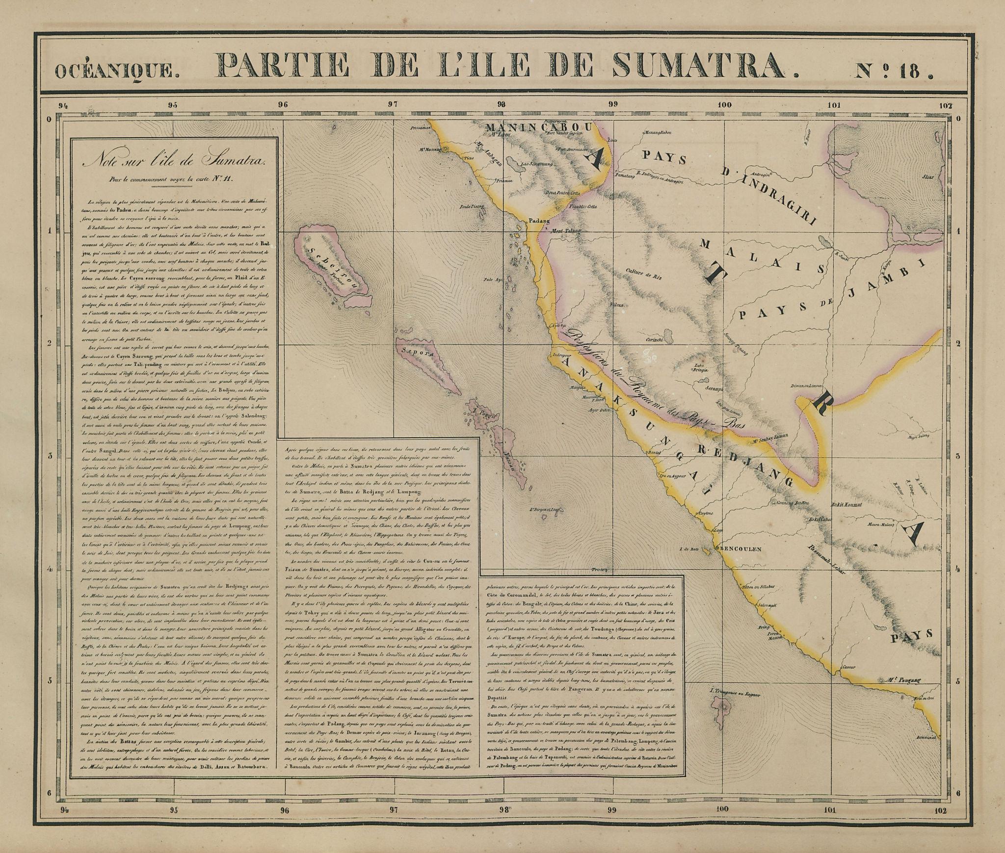 Océanique. Partie de l'ile de Sumatra #18. West Sumatra. VANDERMAELEN 1827 map