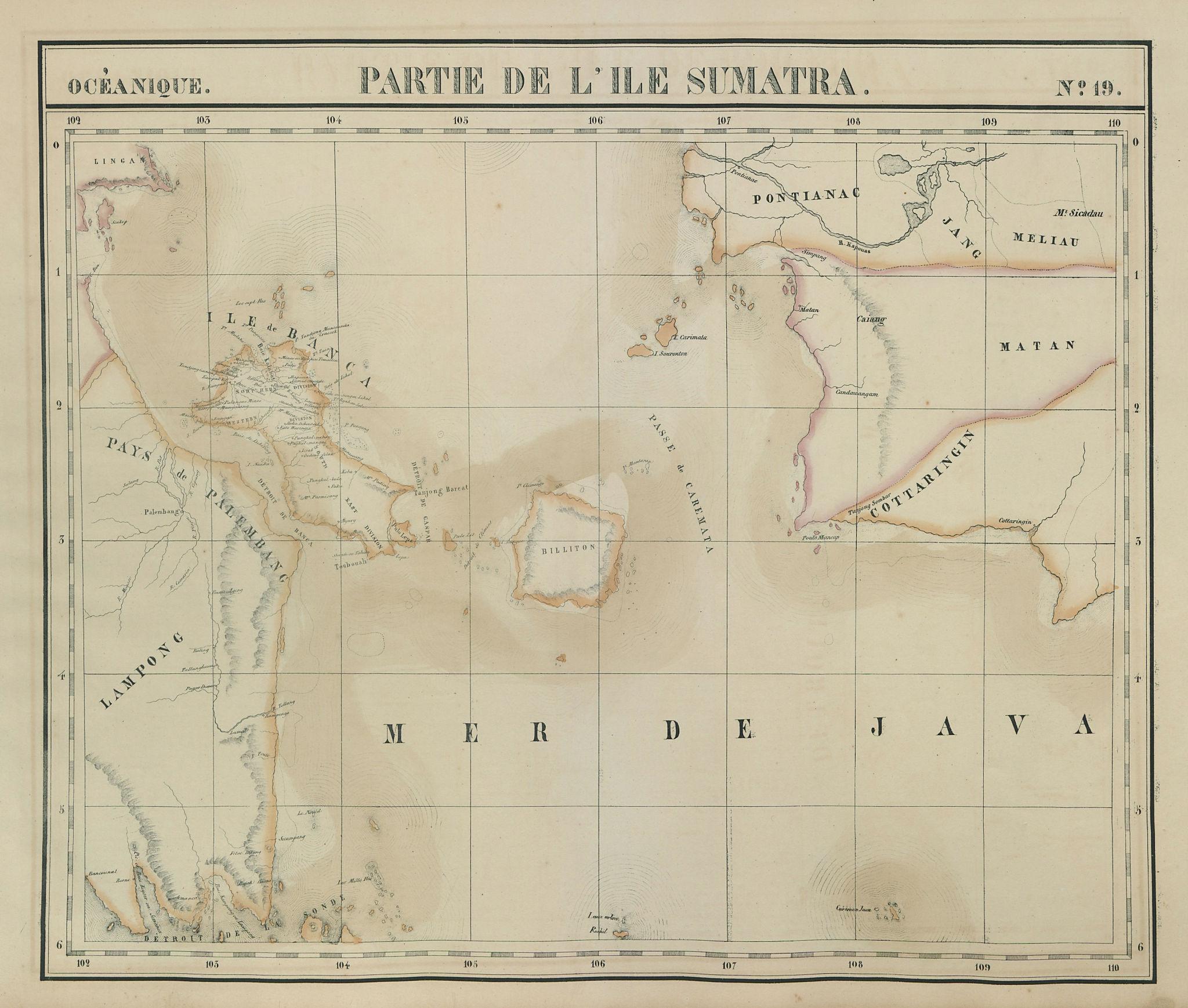 Océanique. Partie de l'ile Sumatra #19. Borneo Bangka. VANDERMAELEN 1827 map