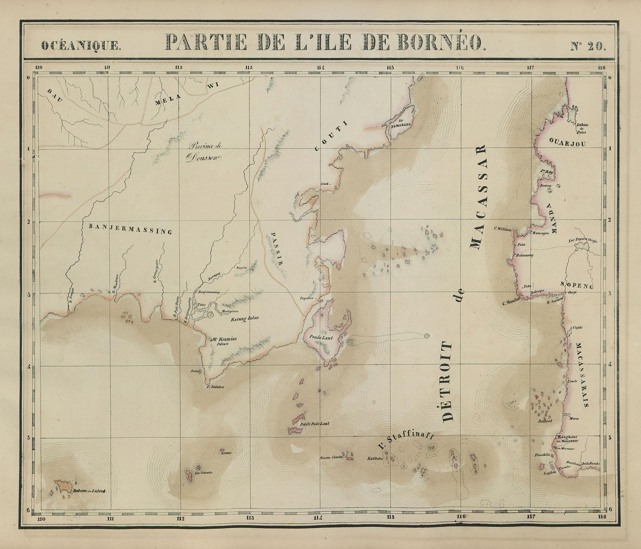 Océanique. Partie de l'ile de Bornéo #20. Sulawesi. VANDERMAELEN 1827 old map