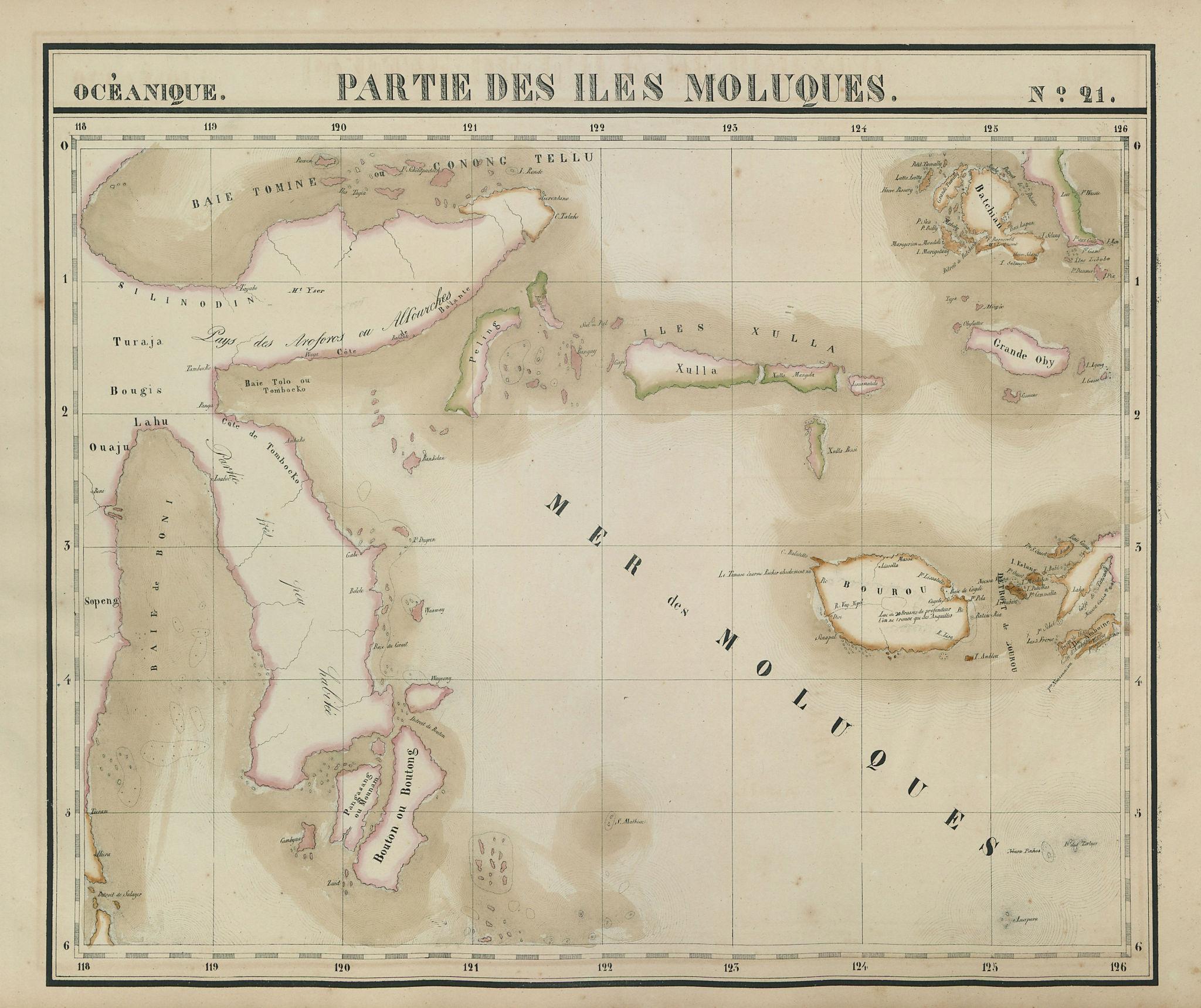 Océanique. Partie des Iles Moluques #21. Sulawesi Moluccas VANDERMAELEN 1827 map