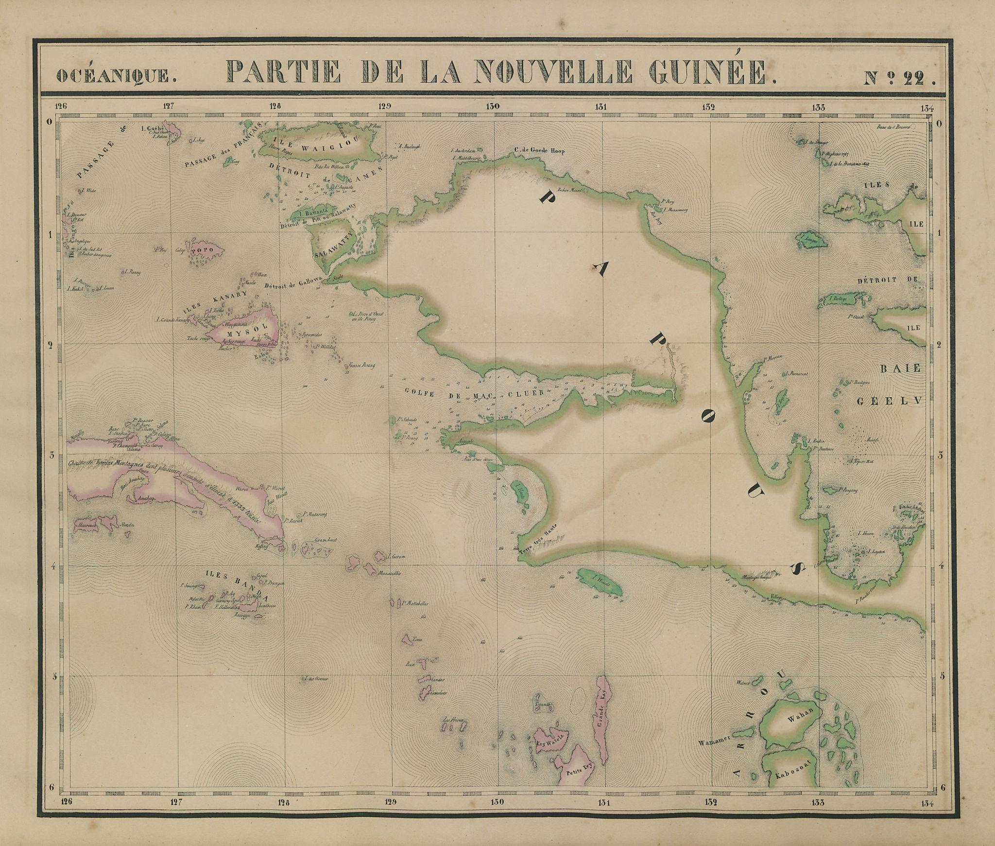Océanique Partie de la Nouvelle Guinée 22 W Papua Moluccas VANDERMAELEN 1827 map