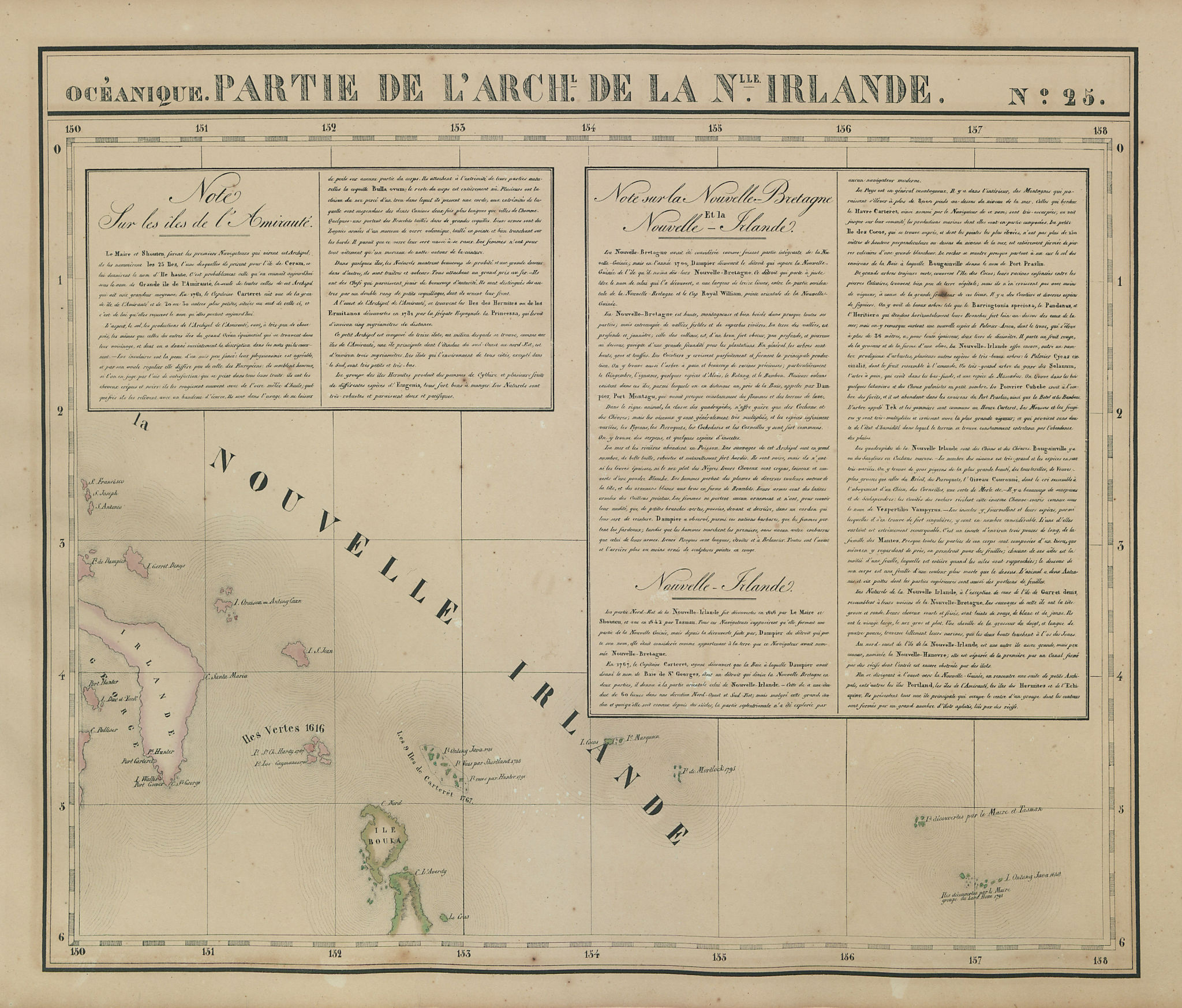 Océanique. Partie… de la Nouvelle Irlande #25. New Ireland VANDERMAELEN 1827 map