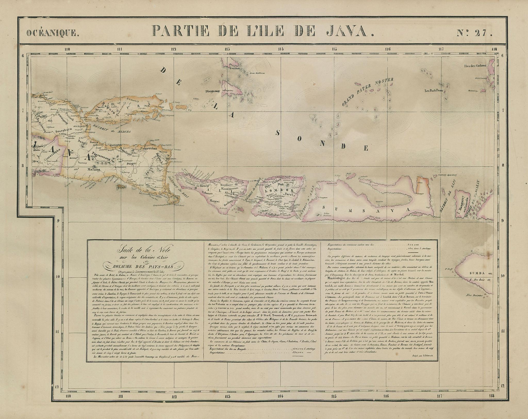 Océanique. Partie de l'ile de Java #27 Bali Lombok Sumbawa VANDERMAELEN 1827 map