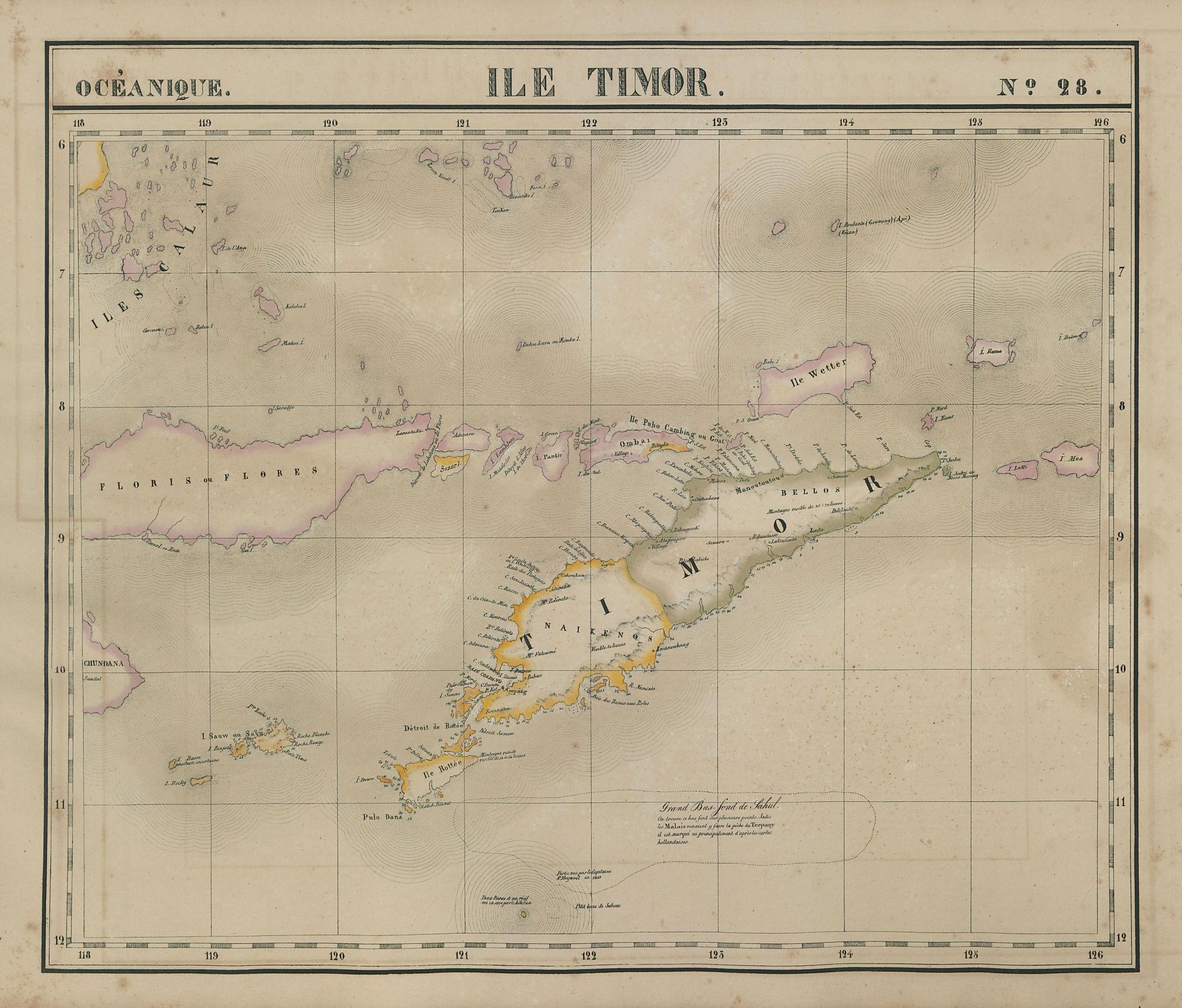 Océanique. Ile Timor #28. Flores. Lesser Sunda Islands. VANDERMAELEN 1827 map