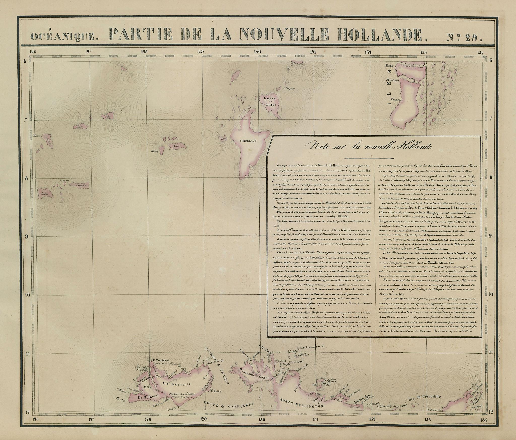 Océanique Partie de la Nlle Hollande 29 Northern Territory VANDERMAELEN 1827 map